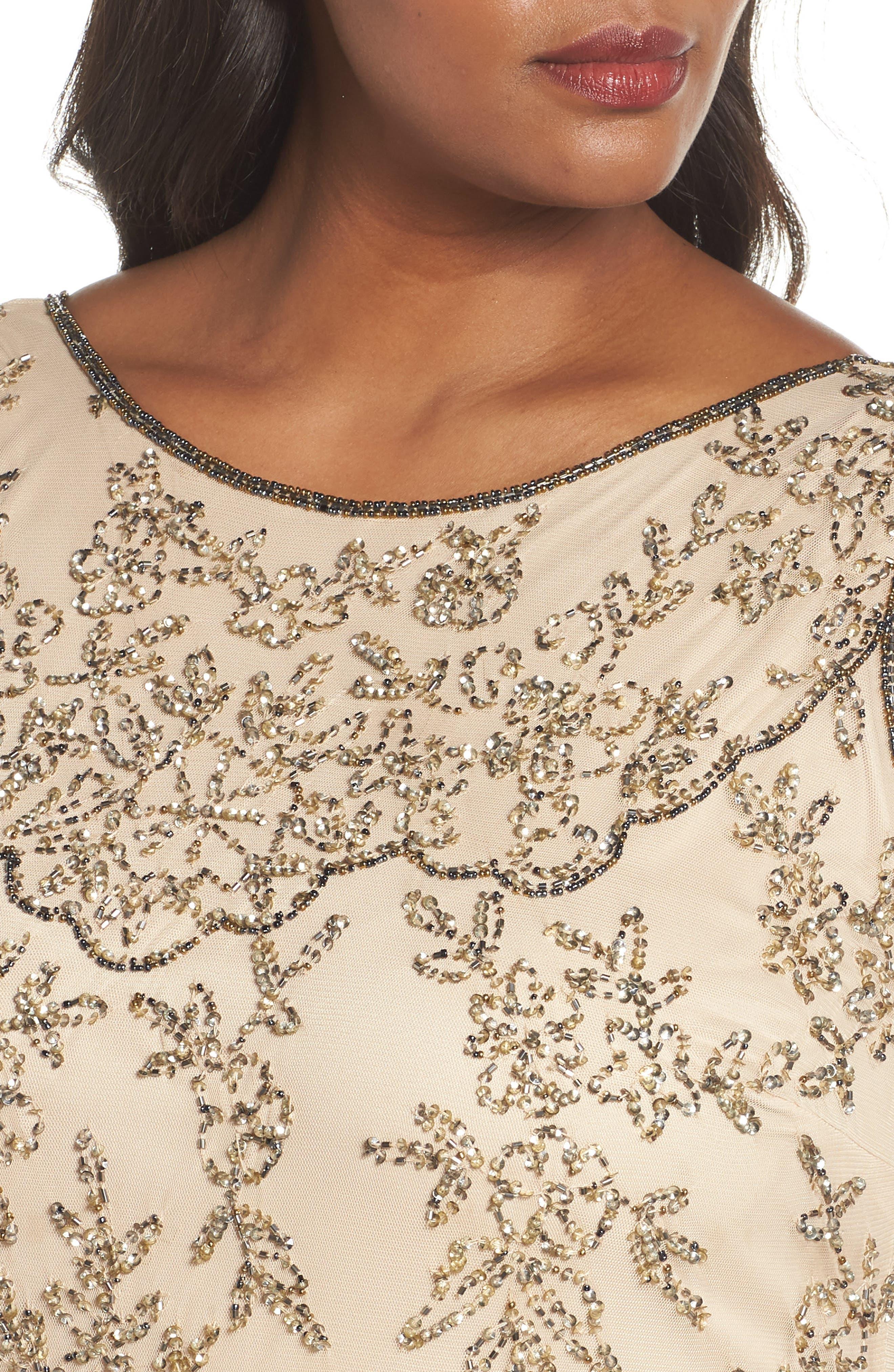 Embellished Bateau Neck Long Dress,                             Alternate thumbnail 4, color,                             Champagne