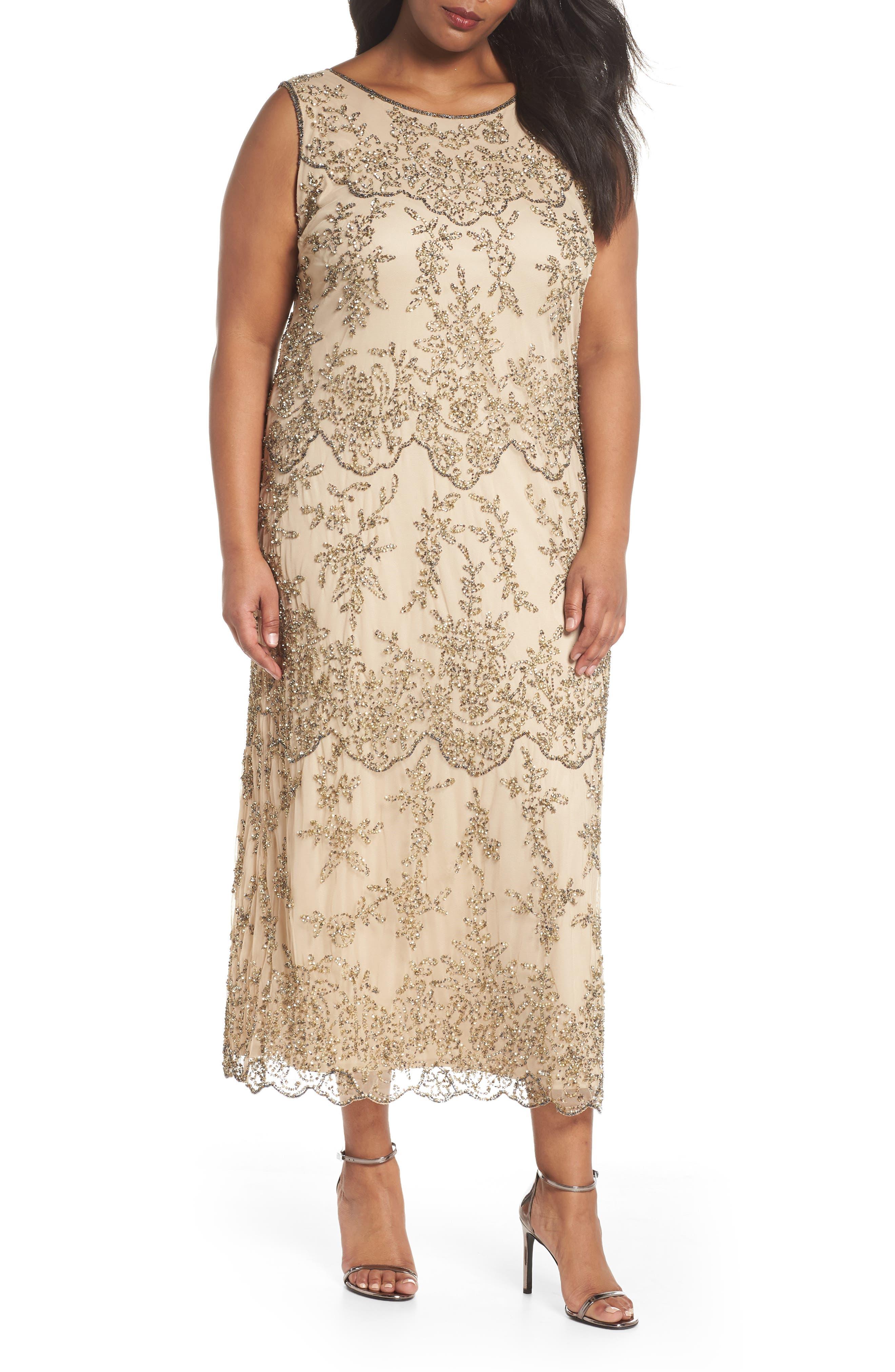Embellished Bateau Neck Long Dress,                         Main,                         color, Champagne