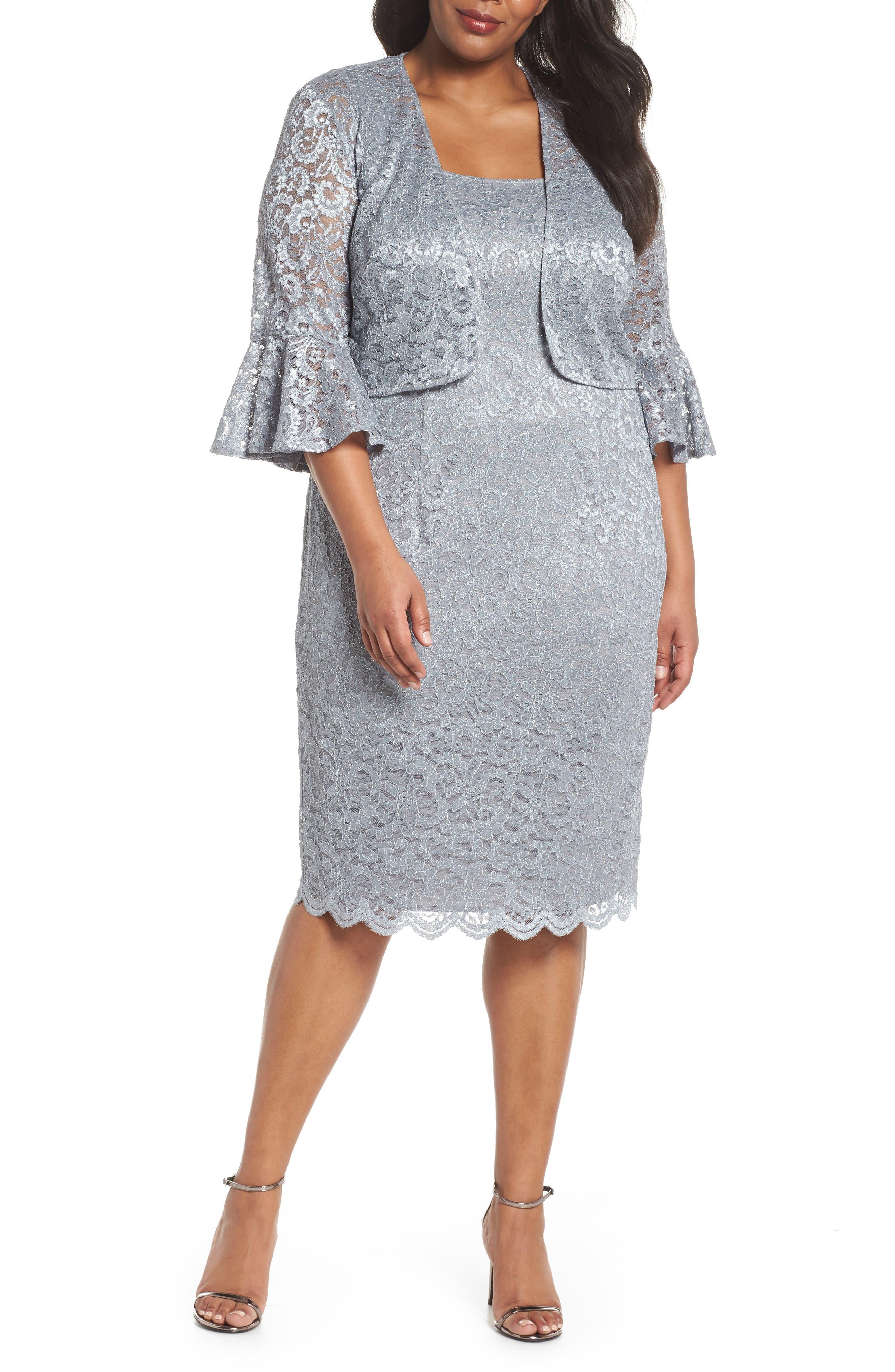 Lace Sheath Dress with Bolero Jacket,                             Main thumbnail 1, color,                             Silver
