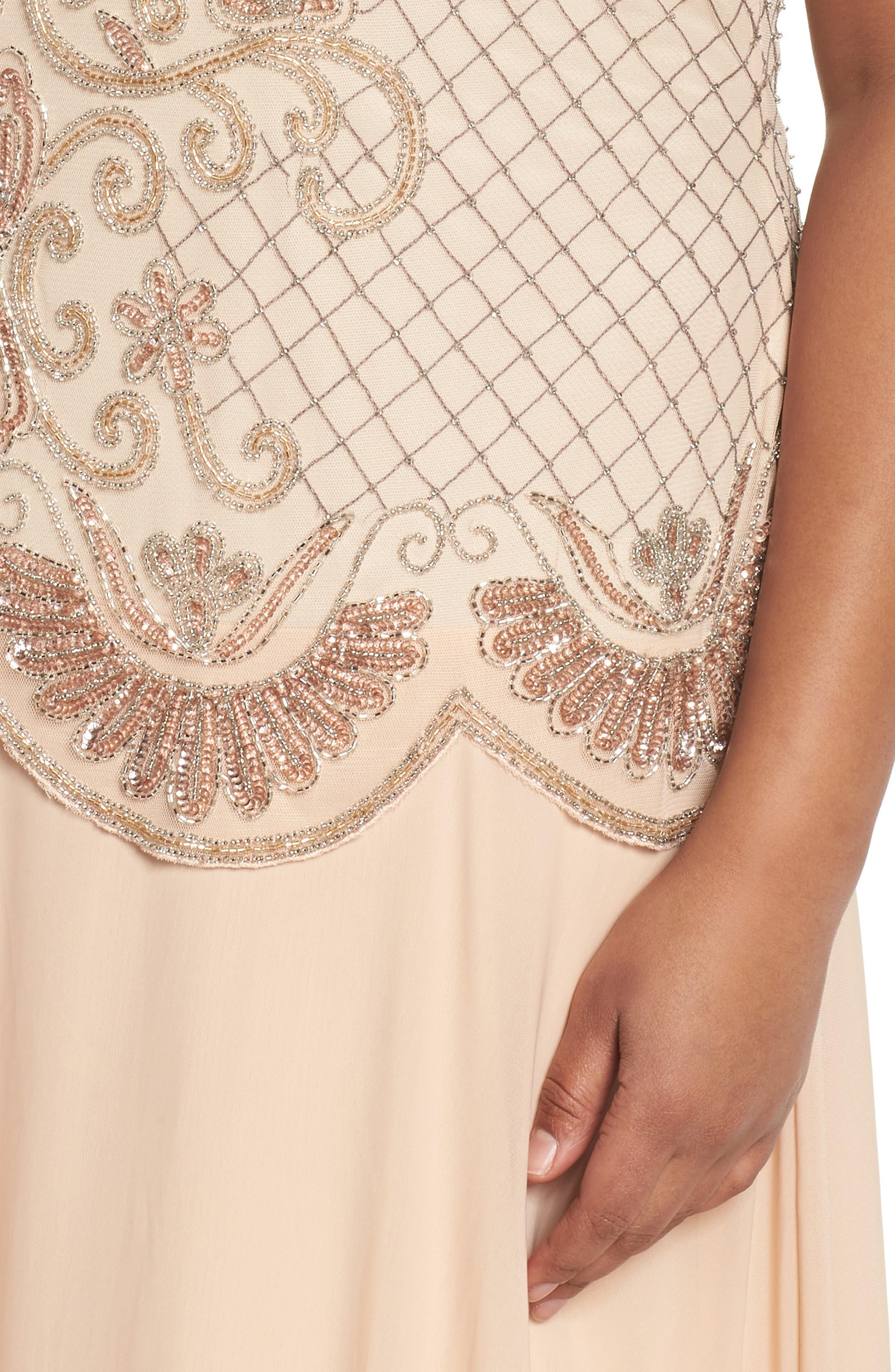 Embellished Mock Two-Piece Gown,                             Alternate thumbnail 4, color,                             Blush