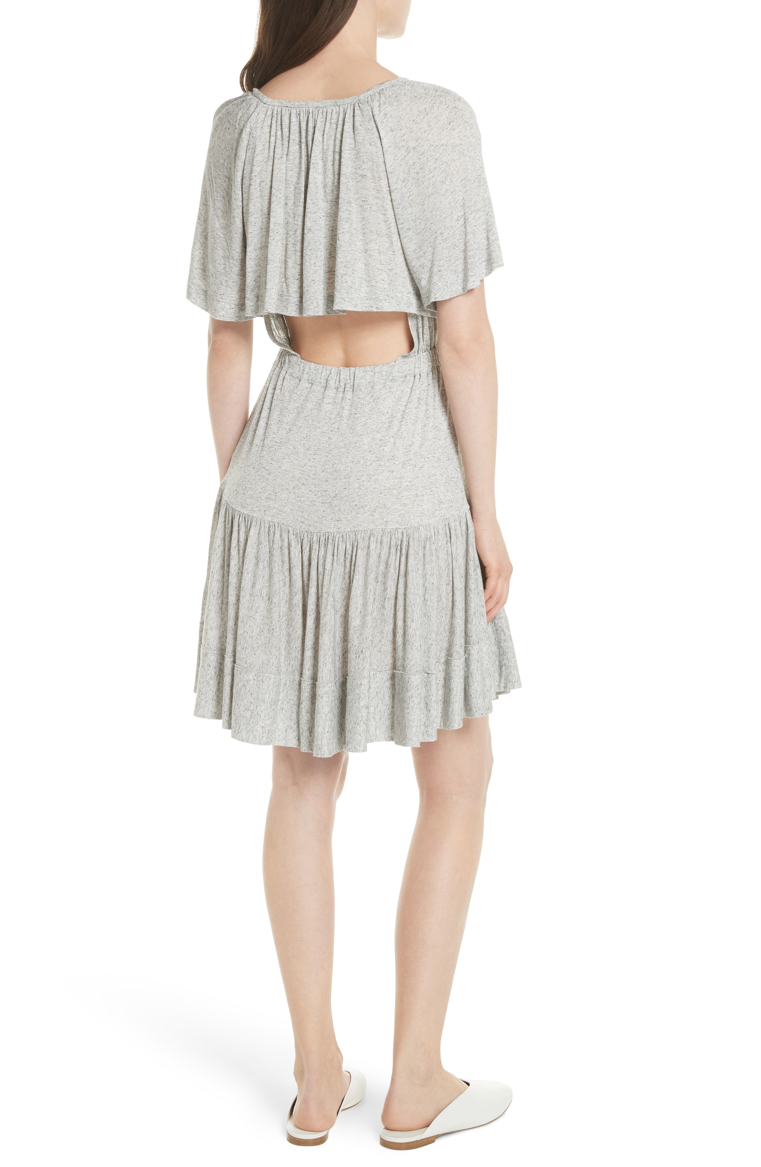 Ruffle Back Cutout Dress,                             Alternate thumbnail 2, color,                             Grey Melange