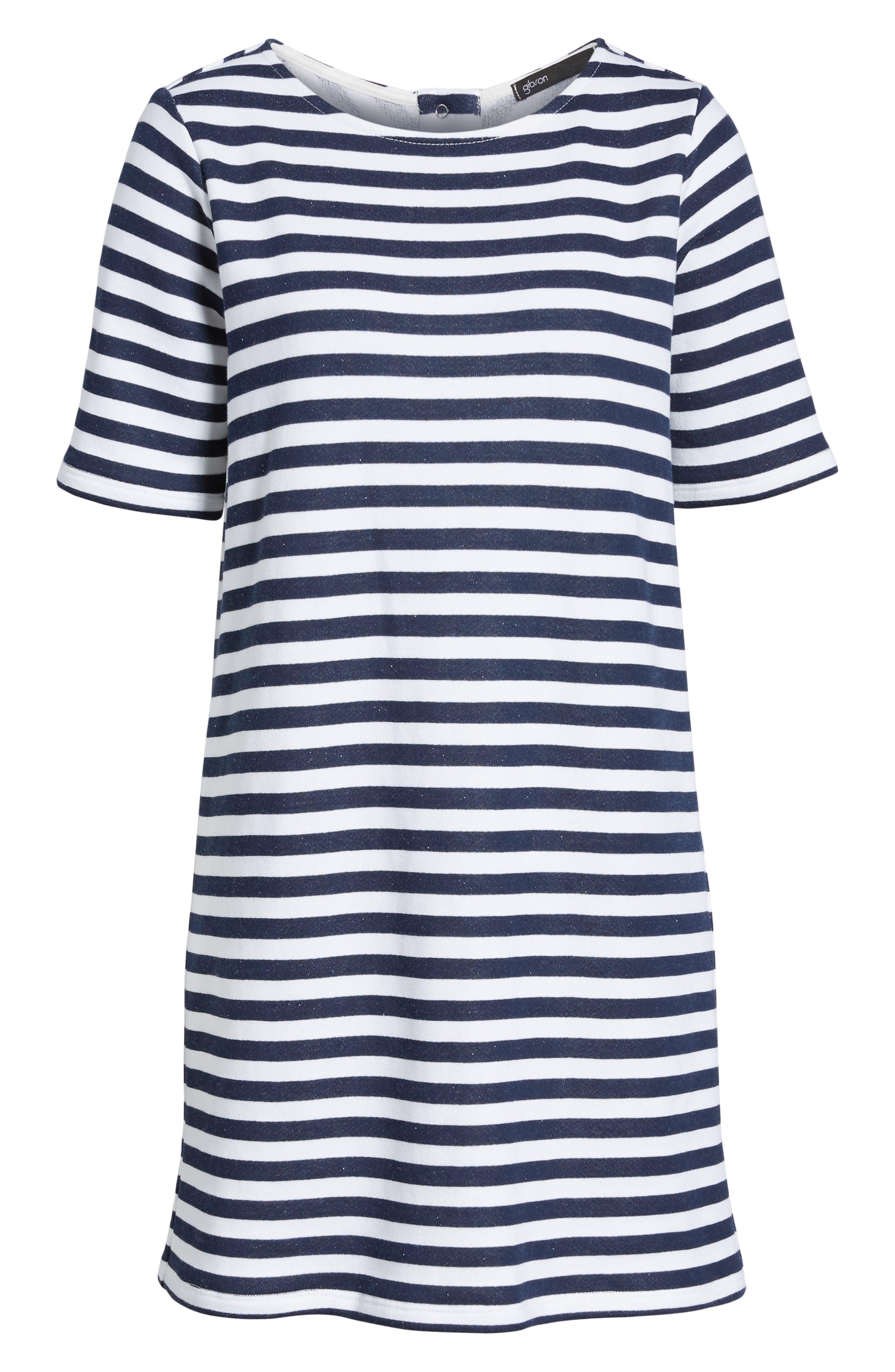 Pleat Back Minidress,                             Alternate thumbnail 6, color,                             Navy/ Ivory Stripe