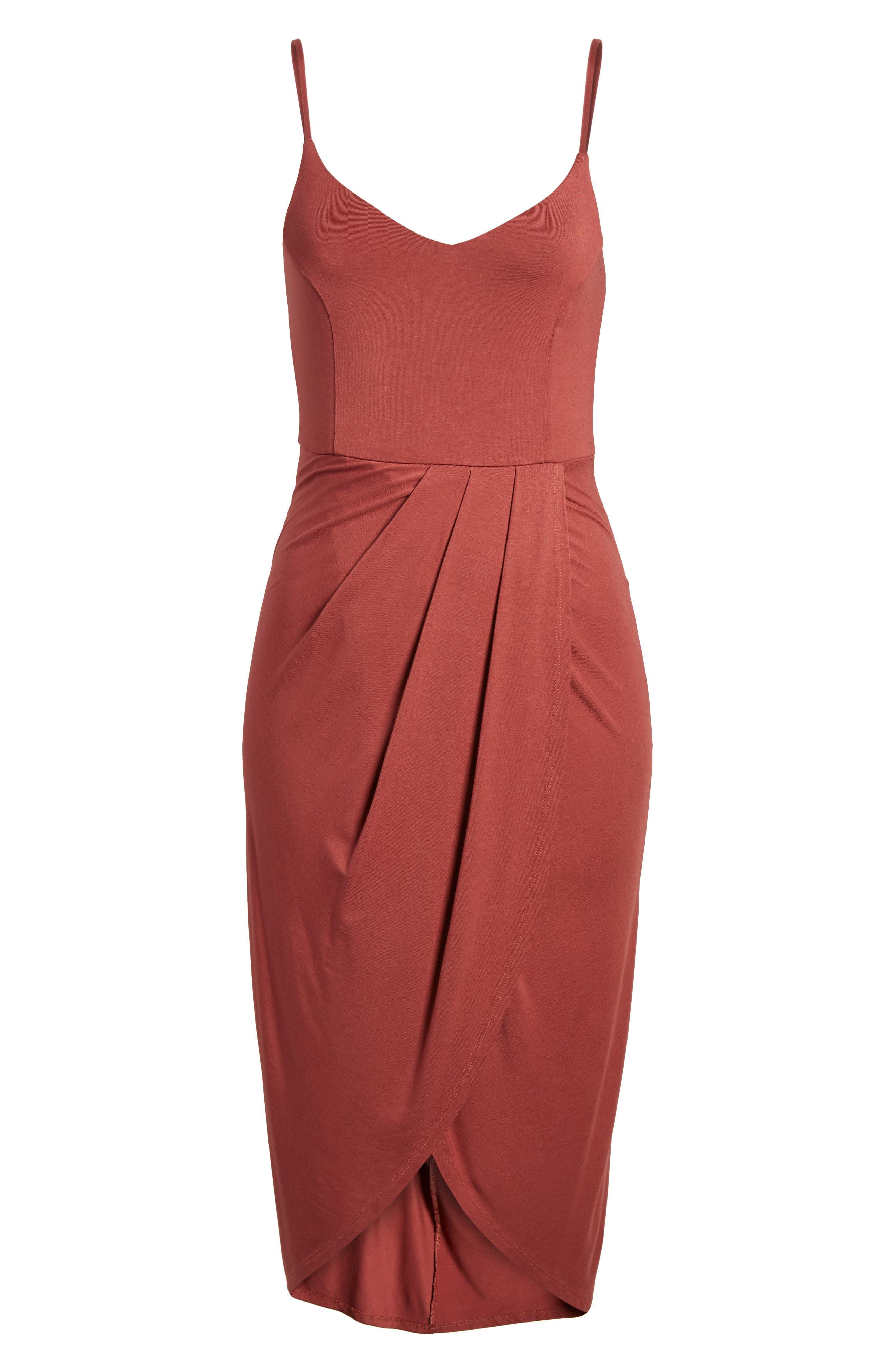 Pleated Wrap Dress,                             Alternate thumbnail 6, color,                             Rust Marsala