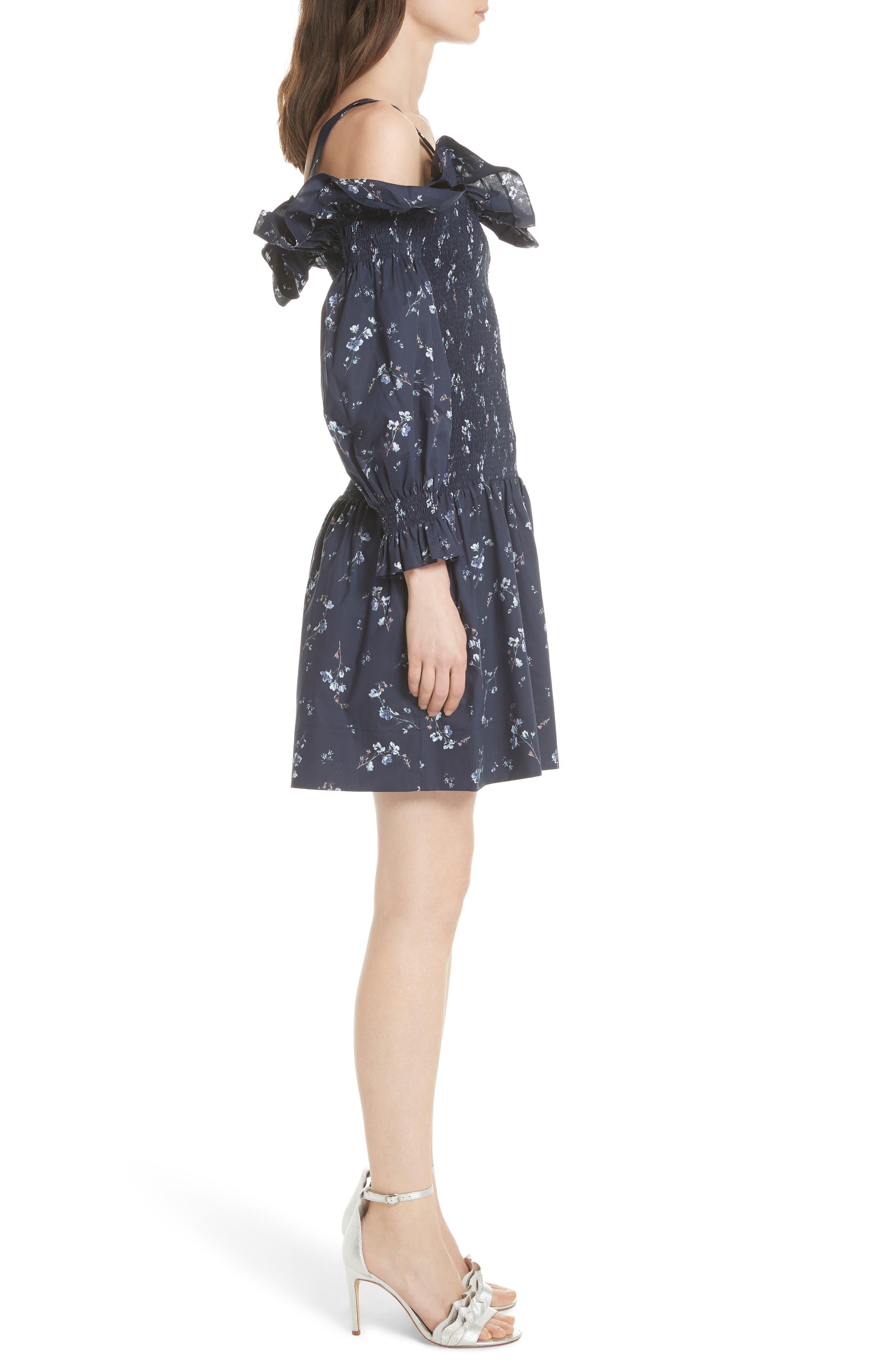 Francine Cold Shoulder Dress,                             Alternate thumbnail 4, color,                             Navy Combo