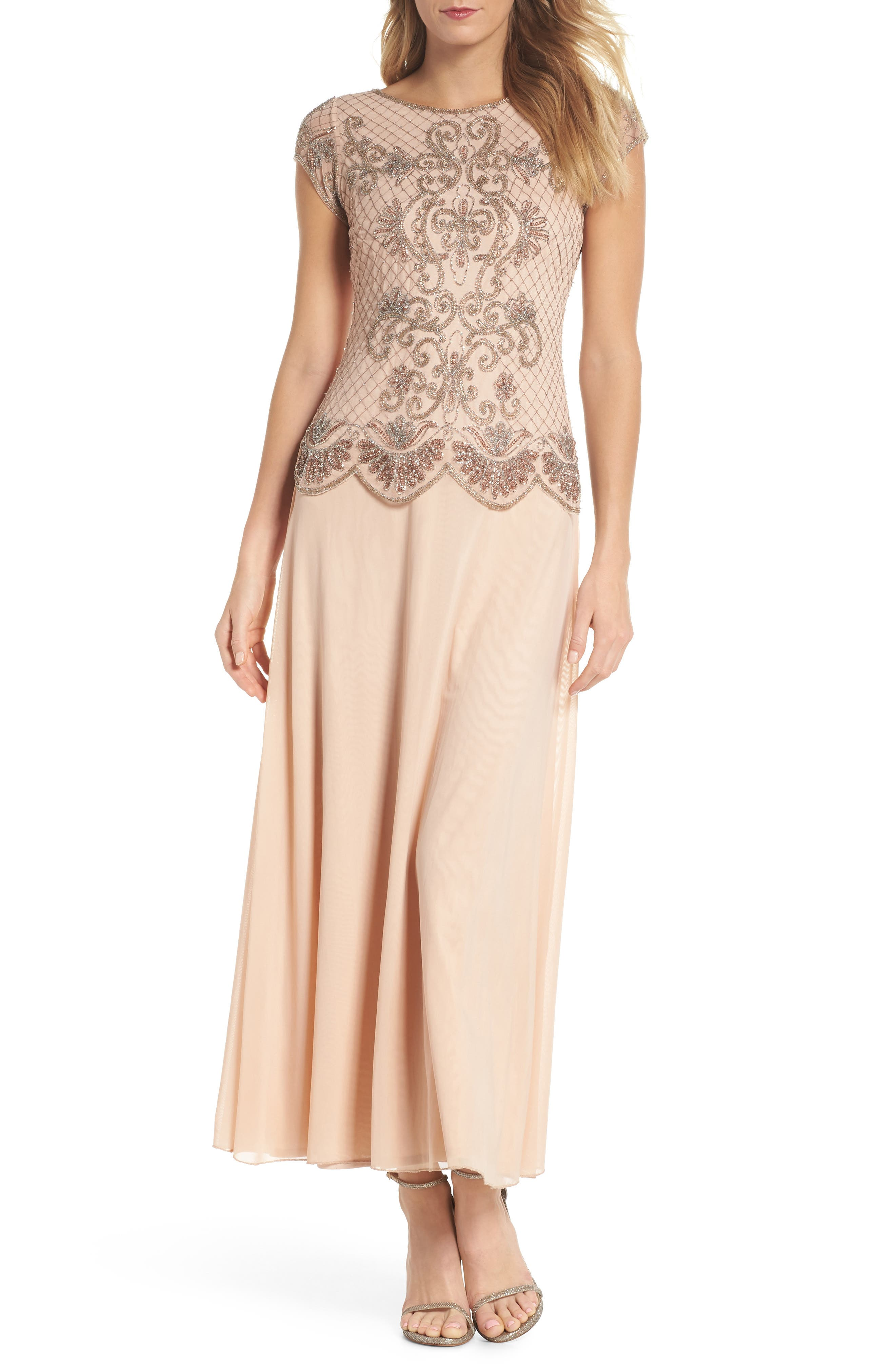 Embellished Mock Two-Piece Gown,                         Main,                         color, Blush
