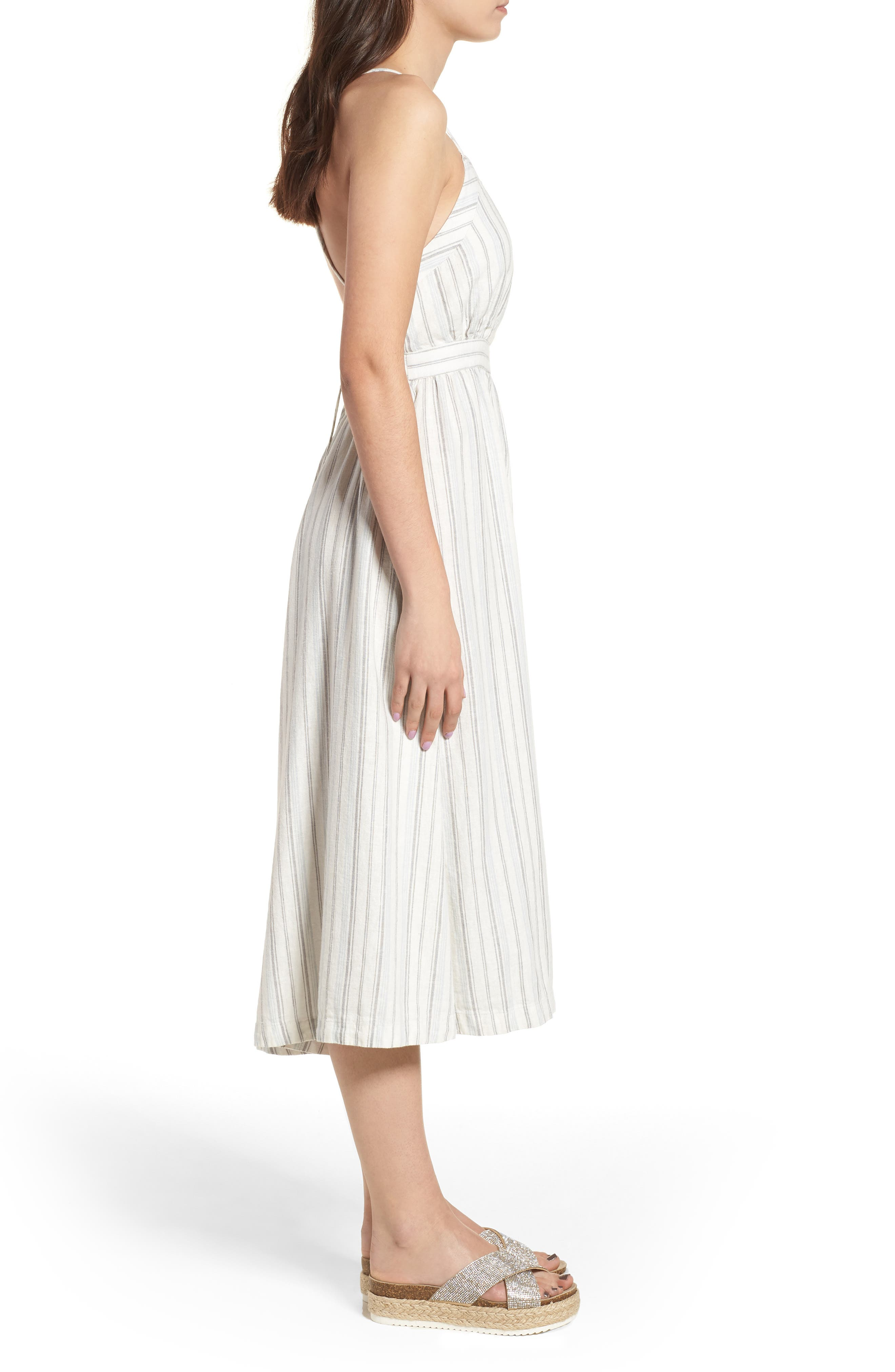 Stripe Apron Dress,                             Alternate thumbnail 3, color,                             Ivory Verigated Stripe