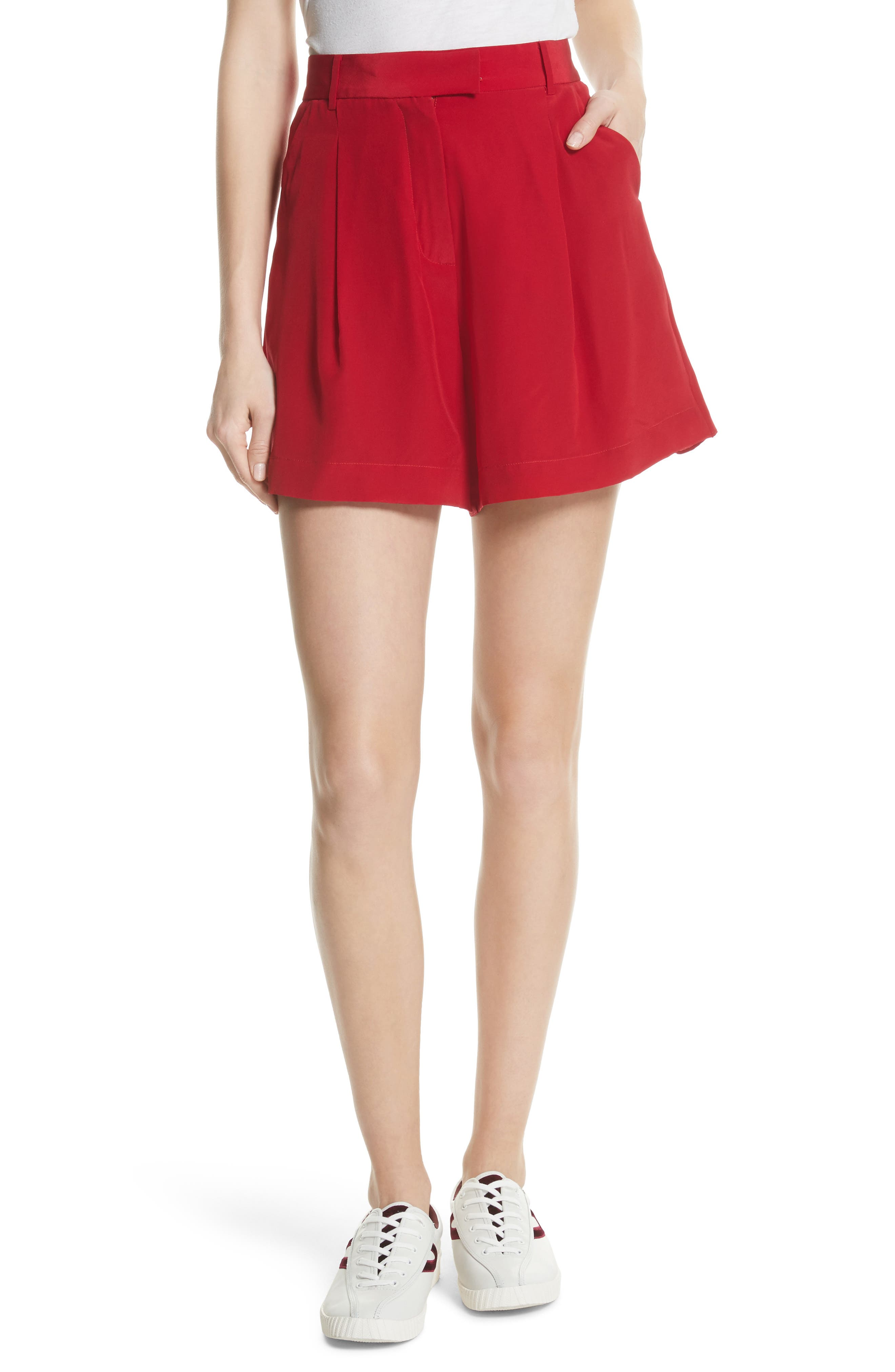 Pleated Skort,                             Main thumbnail 1, color,                             Red