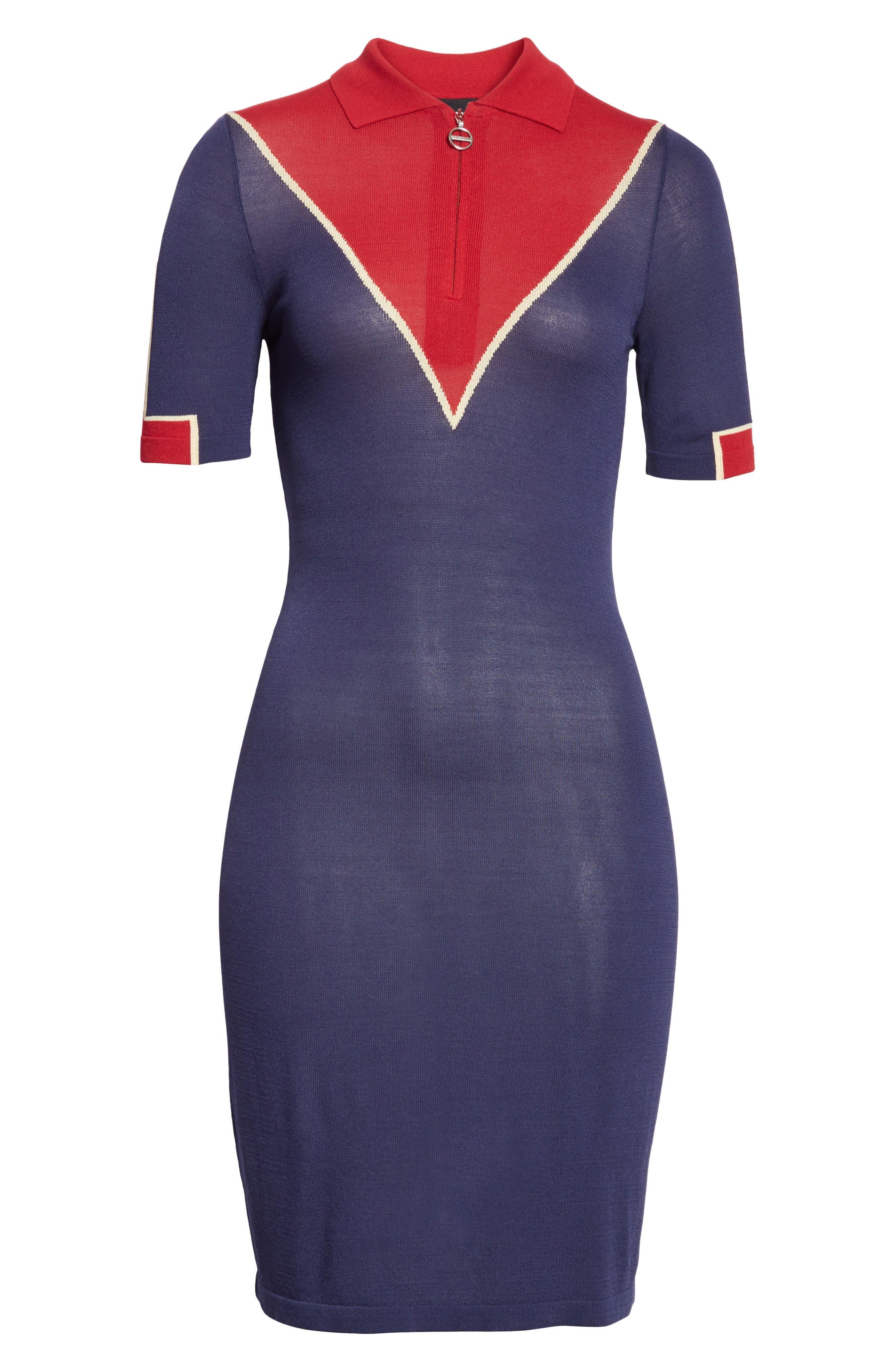 Chevron Knit Dress,                             Alternate thumbnail 6, color,                             Navy