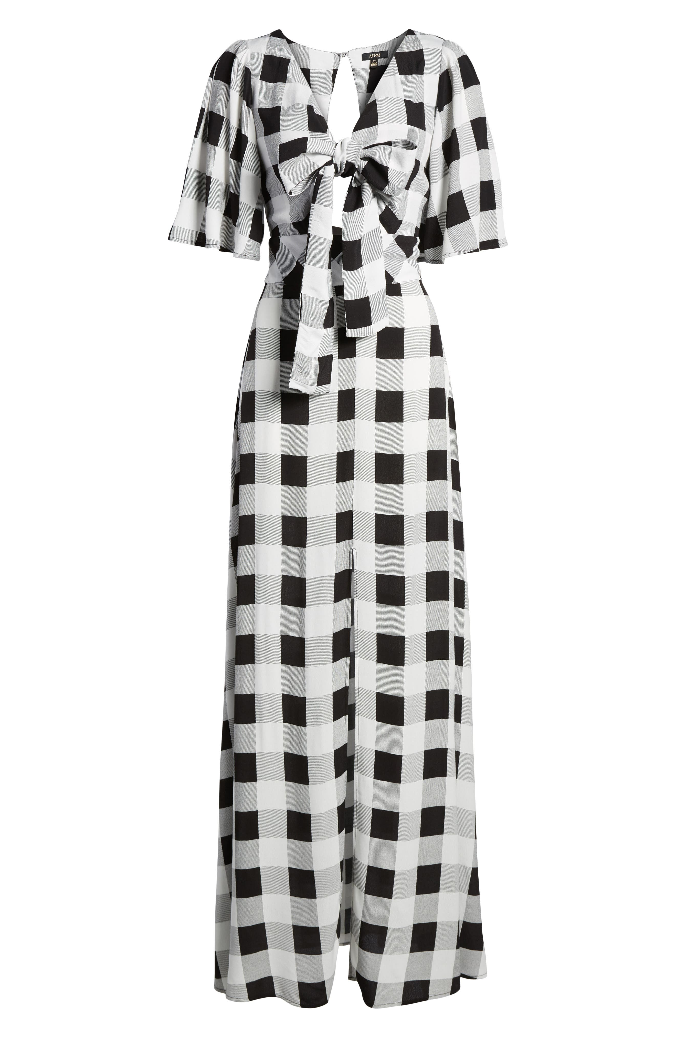 Ramon Tie Front Maxi Dress,                             Alternate thumbnail 6, color,                             Noir Blanc Gingham