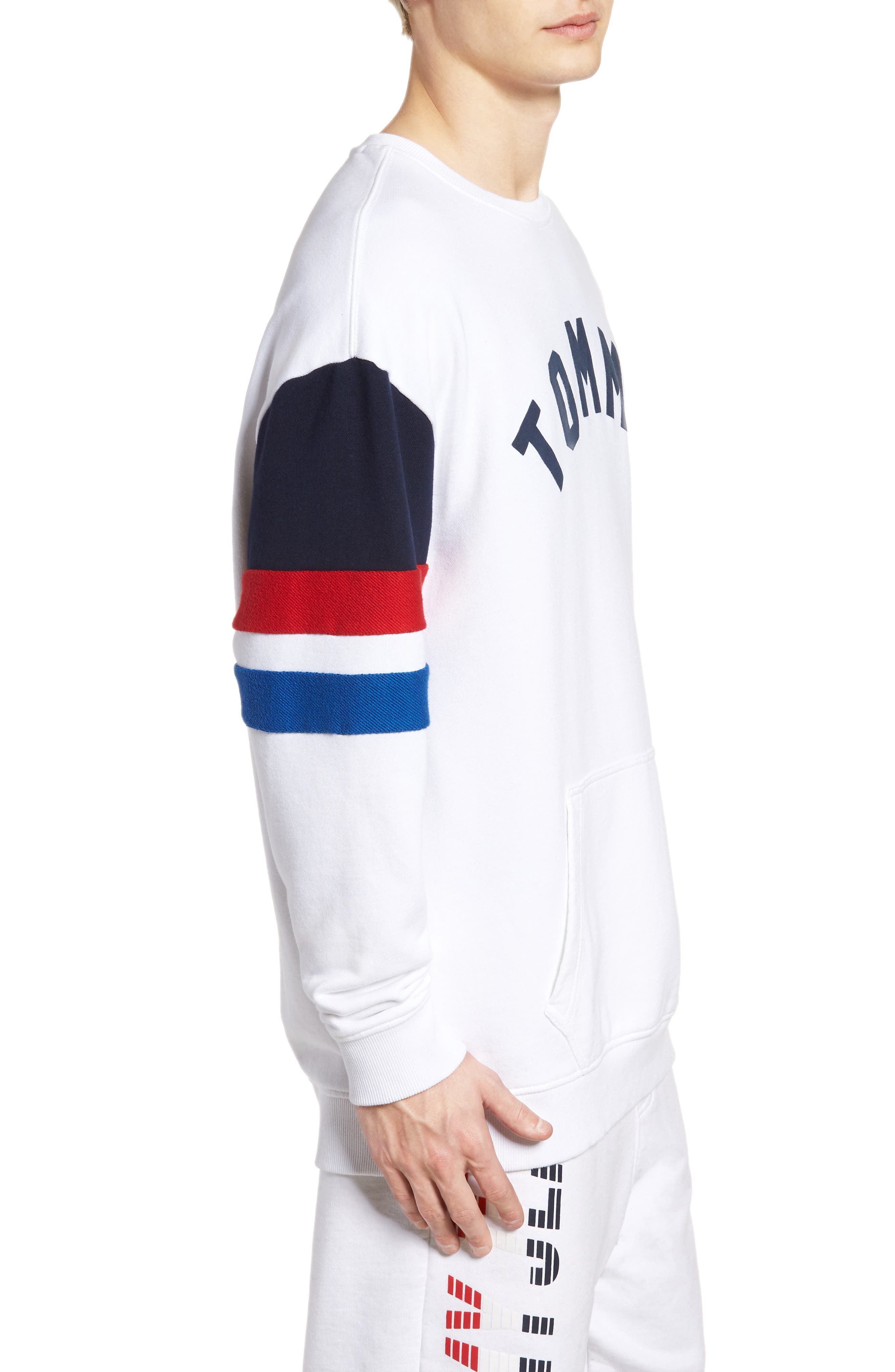 Colorblock Sweatshirt,                             Alternate thumbnail 3, color,                             Classic White / Multi