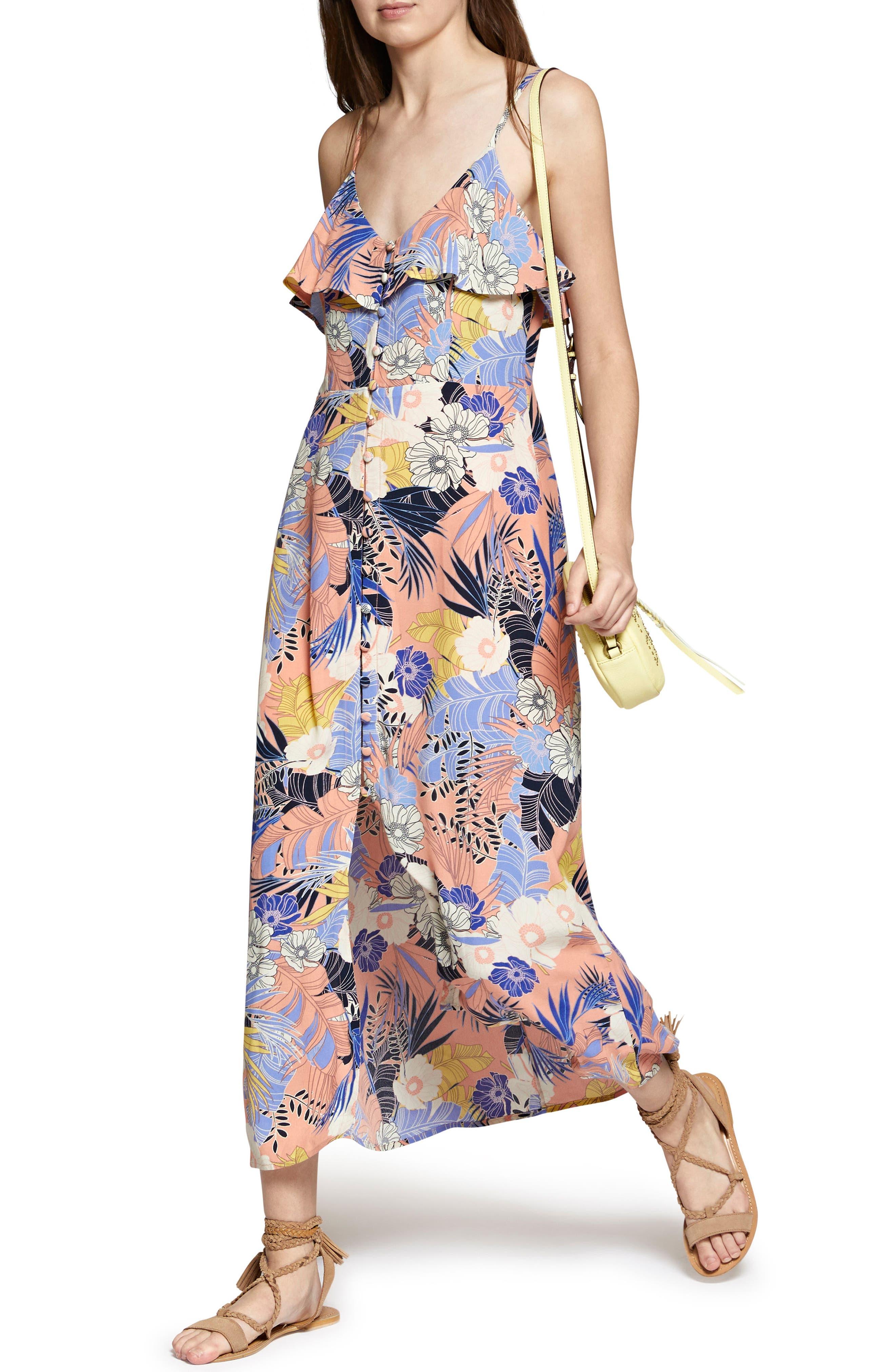 Isabella Print Maxi Dress,                             Alternate thumbnail 4, color,                             Papaya Love