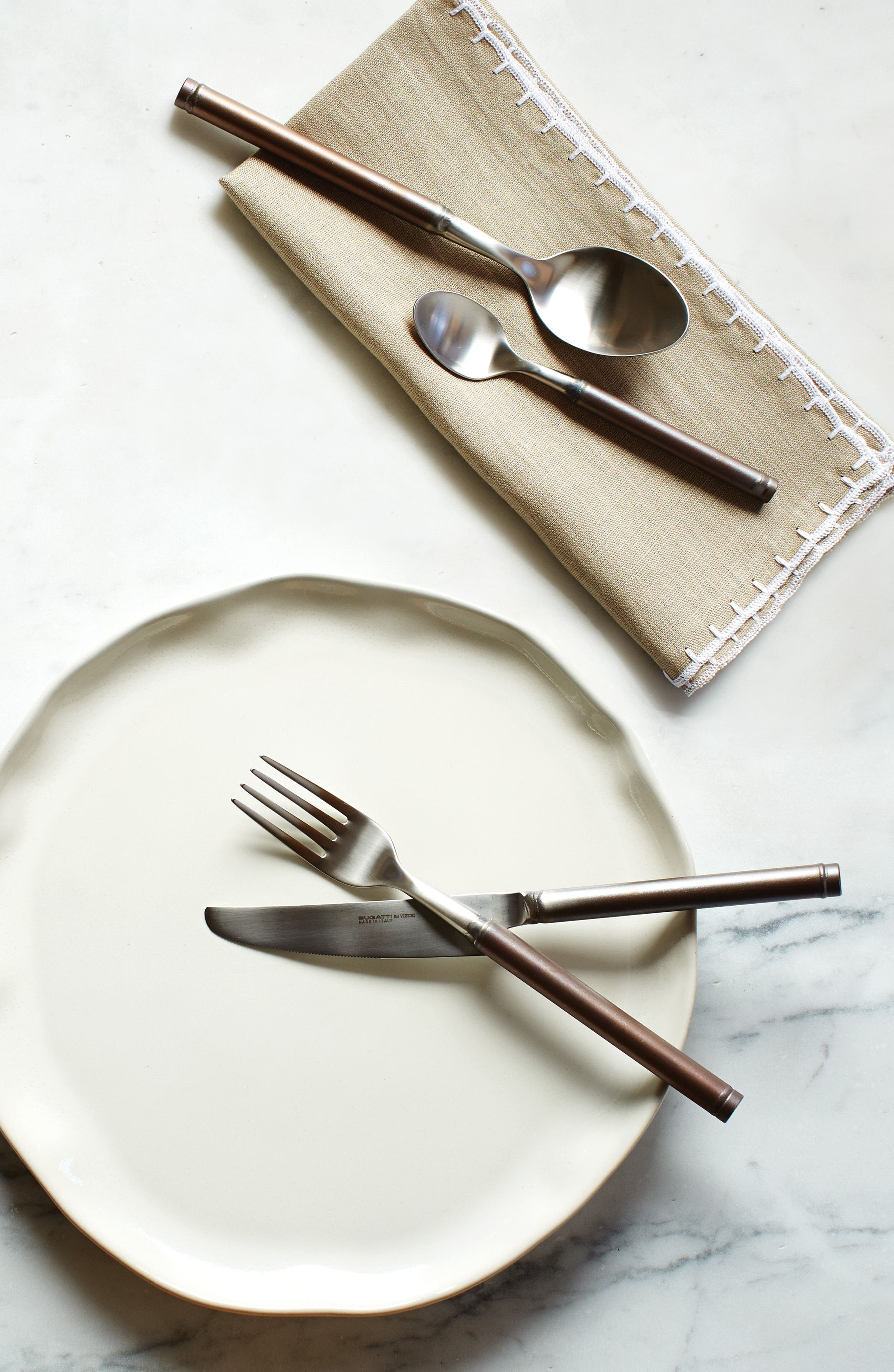 Fuoco 5-Piece Place Setting,                             Alternate thumbnail 2, color,                             Brown/ Pewter