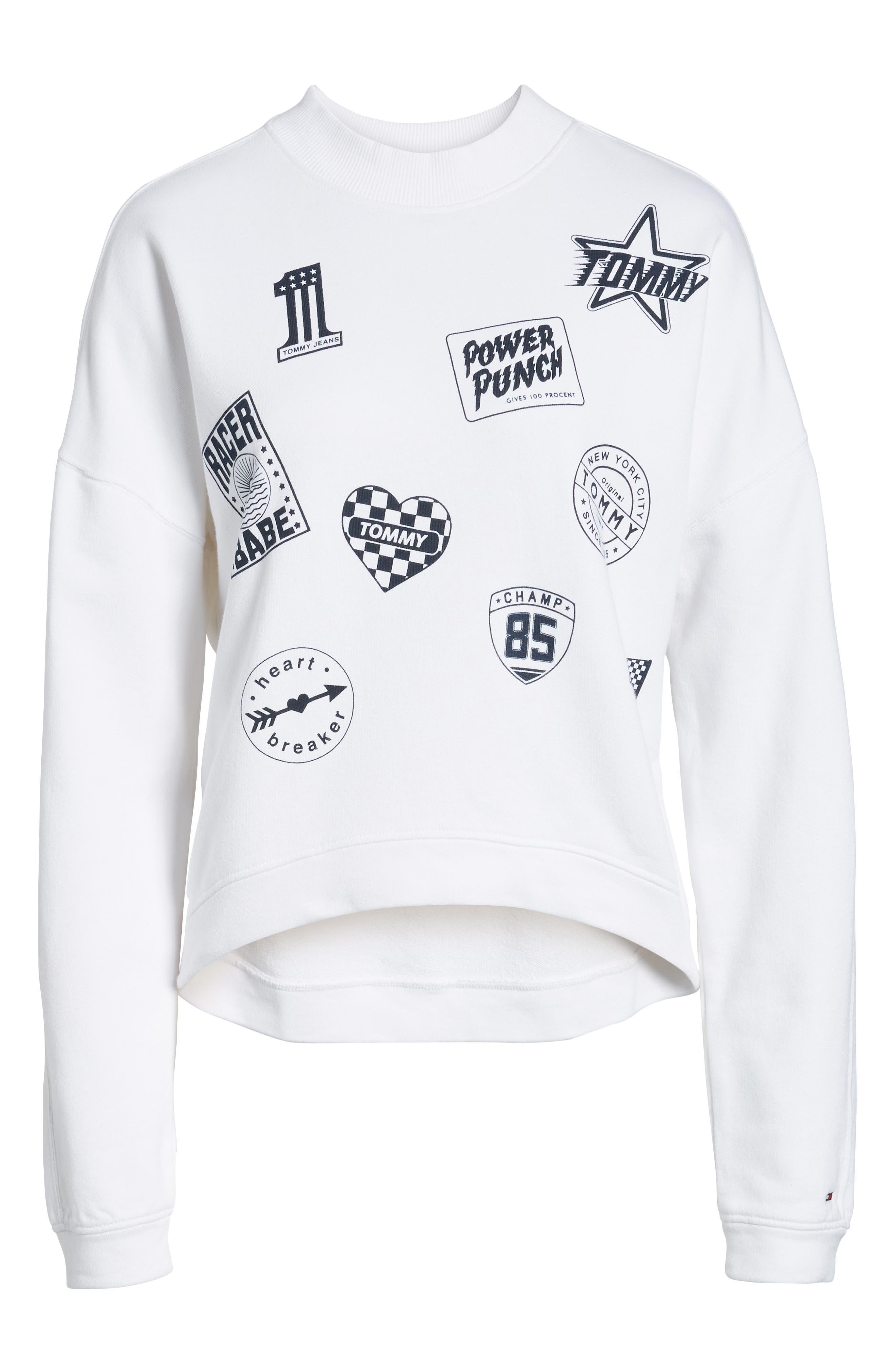 Race Uniform Badge Sweatshirt,                             Alternate thumbnail 7, color,                             Bright White