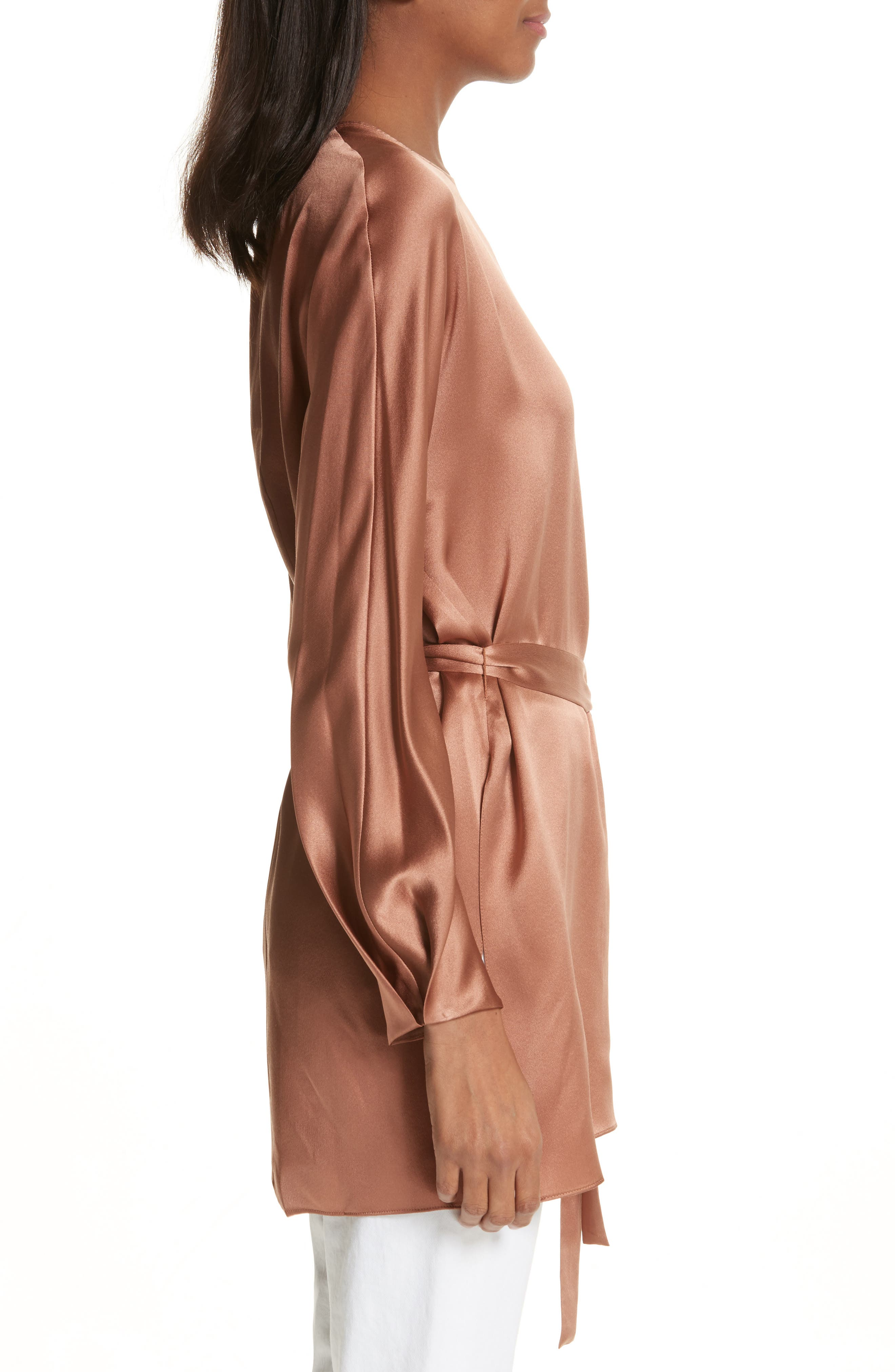 Seam Front Silk Dress,                             Alternate thumbnail 3, color,                             Terracotta