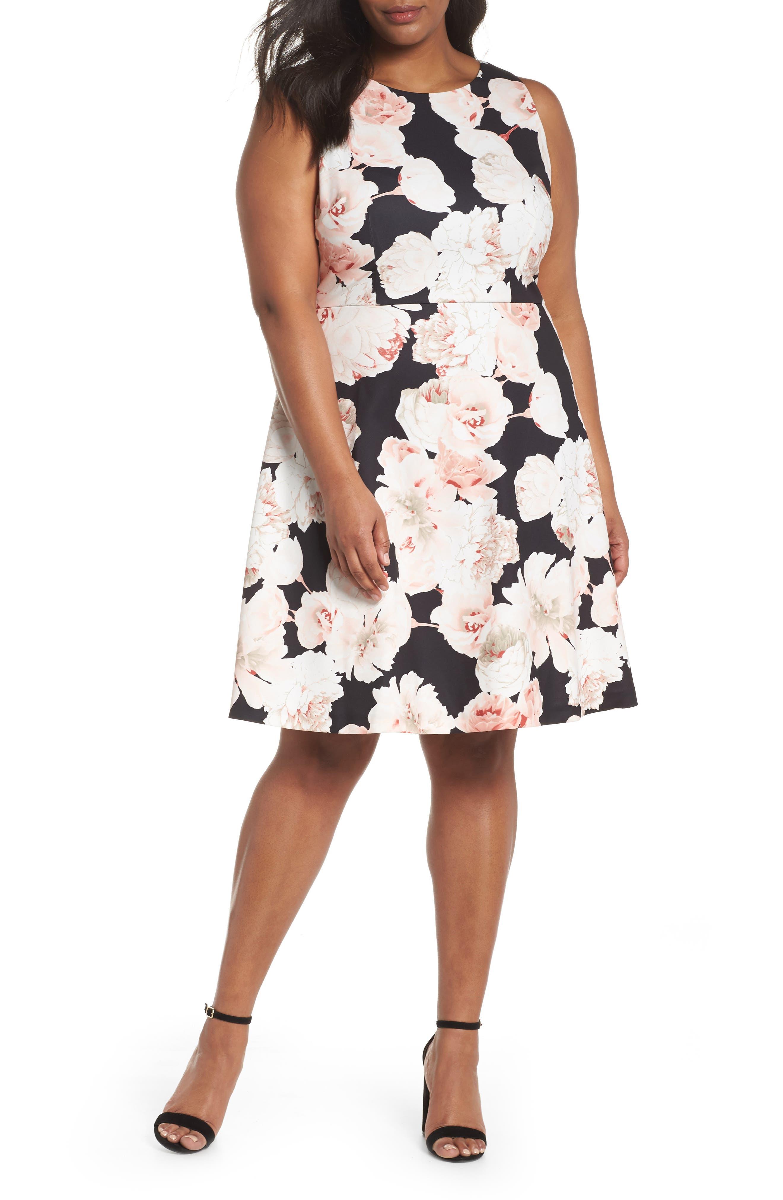 Floral A-Line Dress,                             Main thumbnail 1, color,                             Pink/ Black Multi