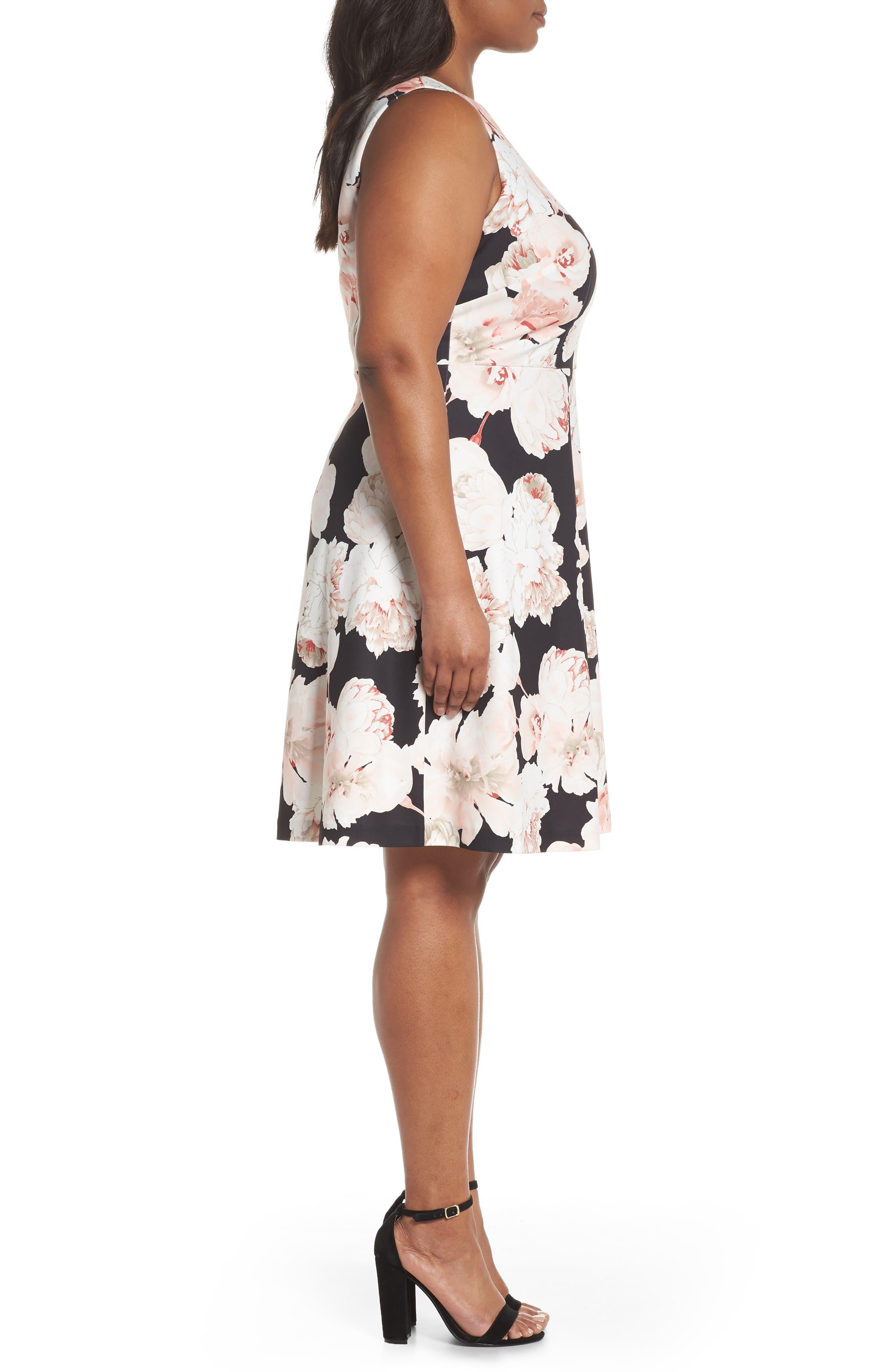 Floral A-Line Dress,                             Alternate thumbnail 3, color,                             Pink/ Black Multi