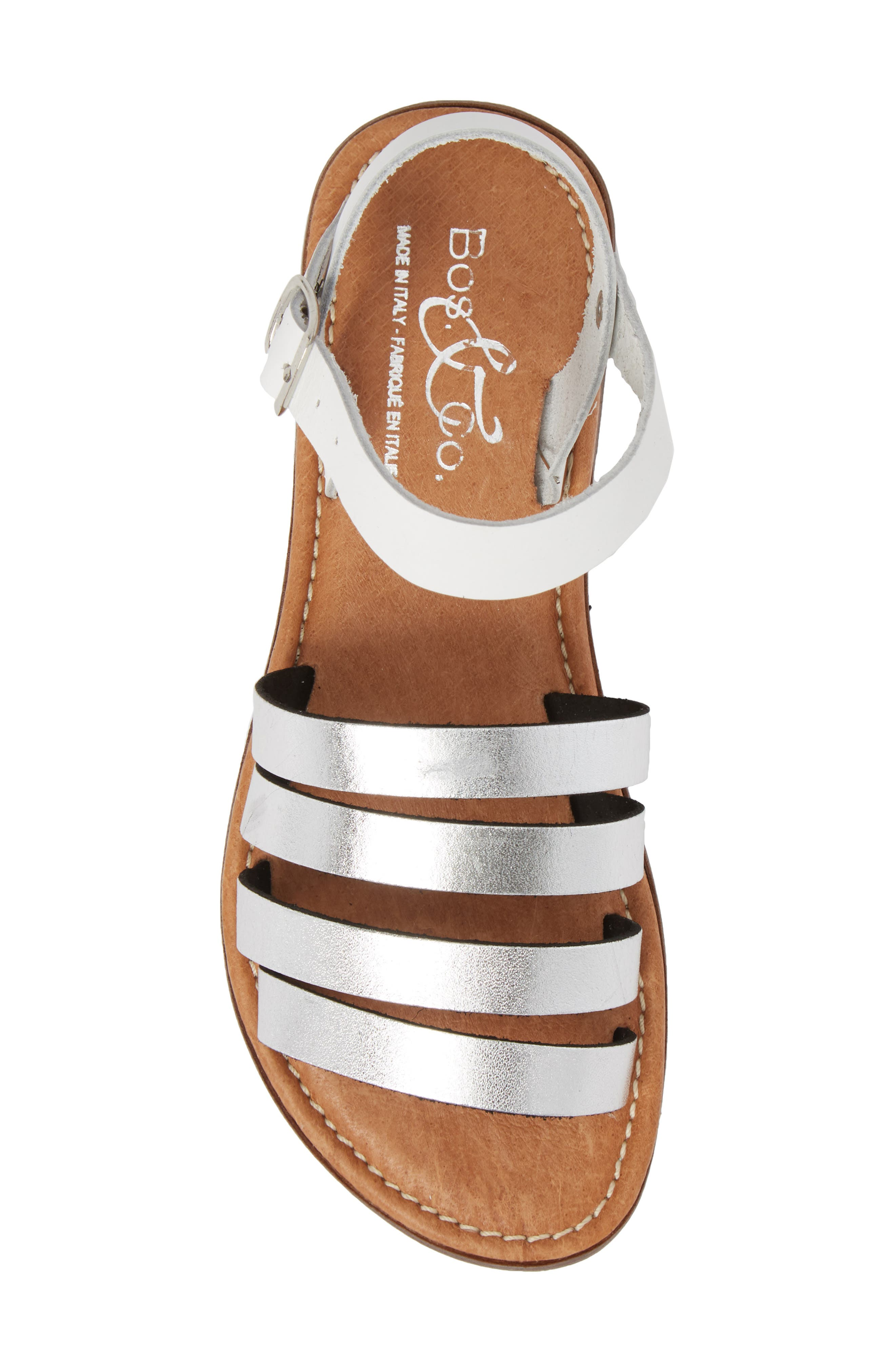 Isle Sandal,                             Alternate thumbnail 5, color,                             Silver/ White Leather