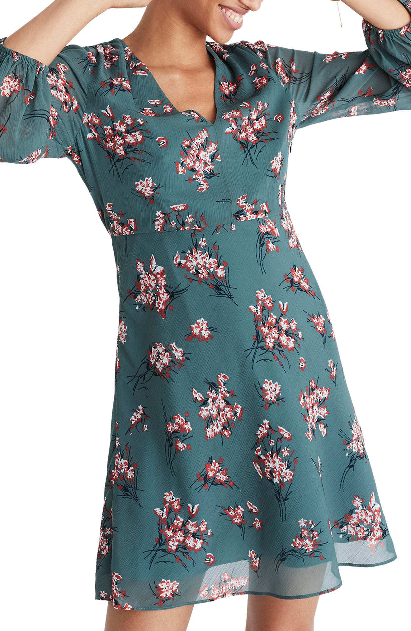 Marguerite Swing Dress,                             Main thumbnail 1, color,                             Butterfly Meadow Green