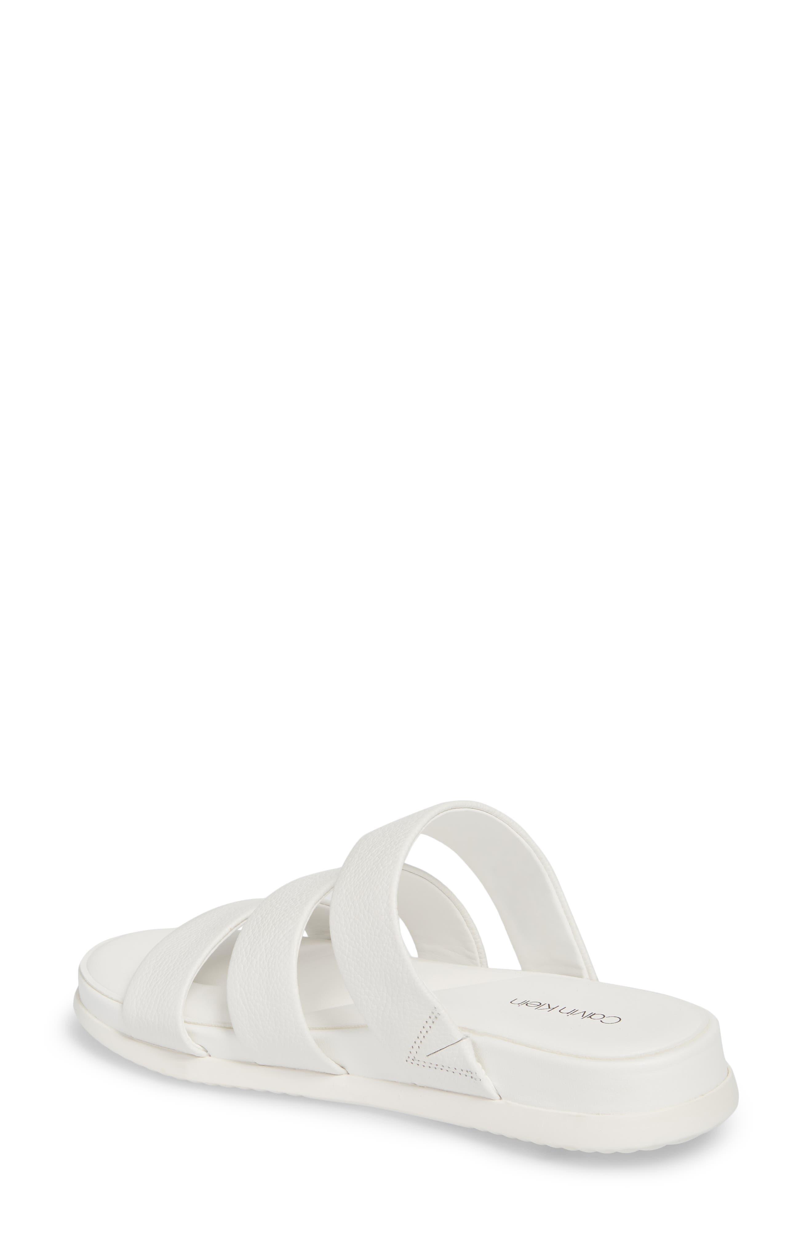 Dalana Slide Sandal,                             Alternate thumbnail 2, color,                             Platinum White Pebble Leather