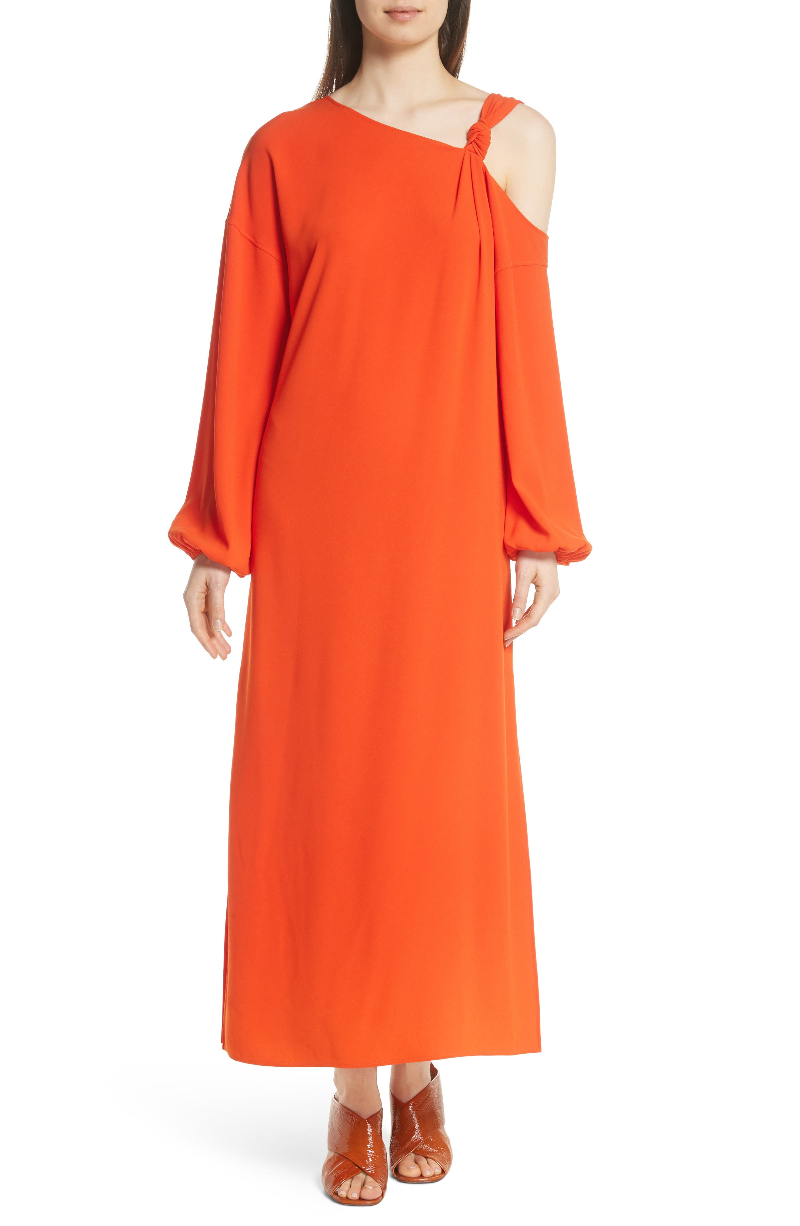Shontae One-Shoulder Maxi Dress,                         Main,                         color, Tangerine