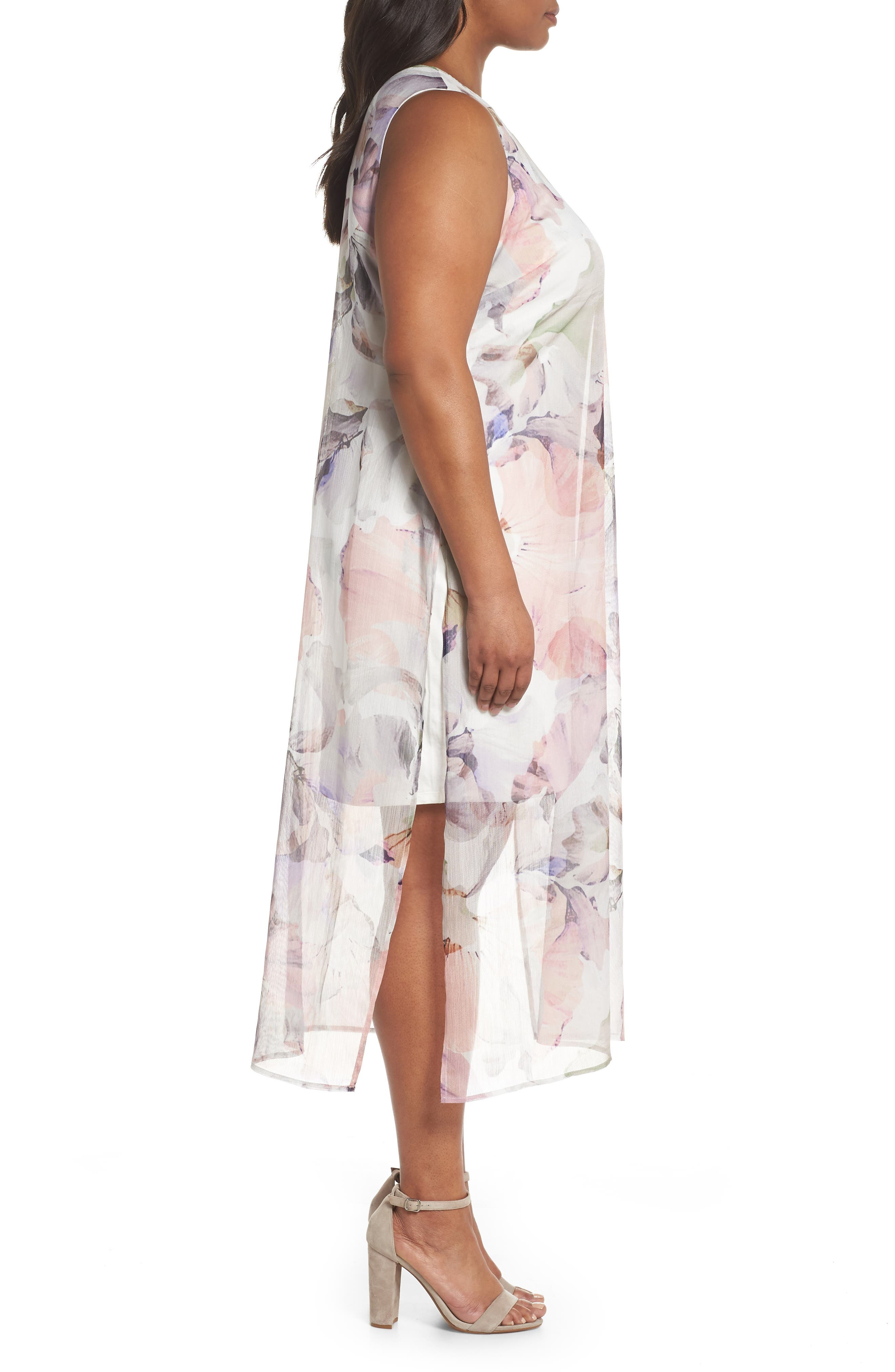 Diffused Blooms Overlay Midi Dress,                             Alternate thumbnail 3, color,                             New Ivory