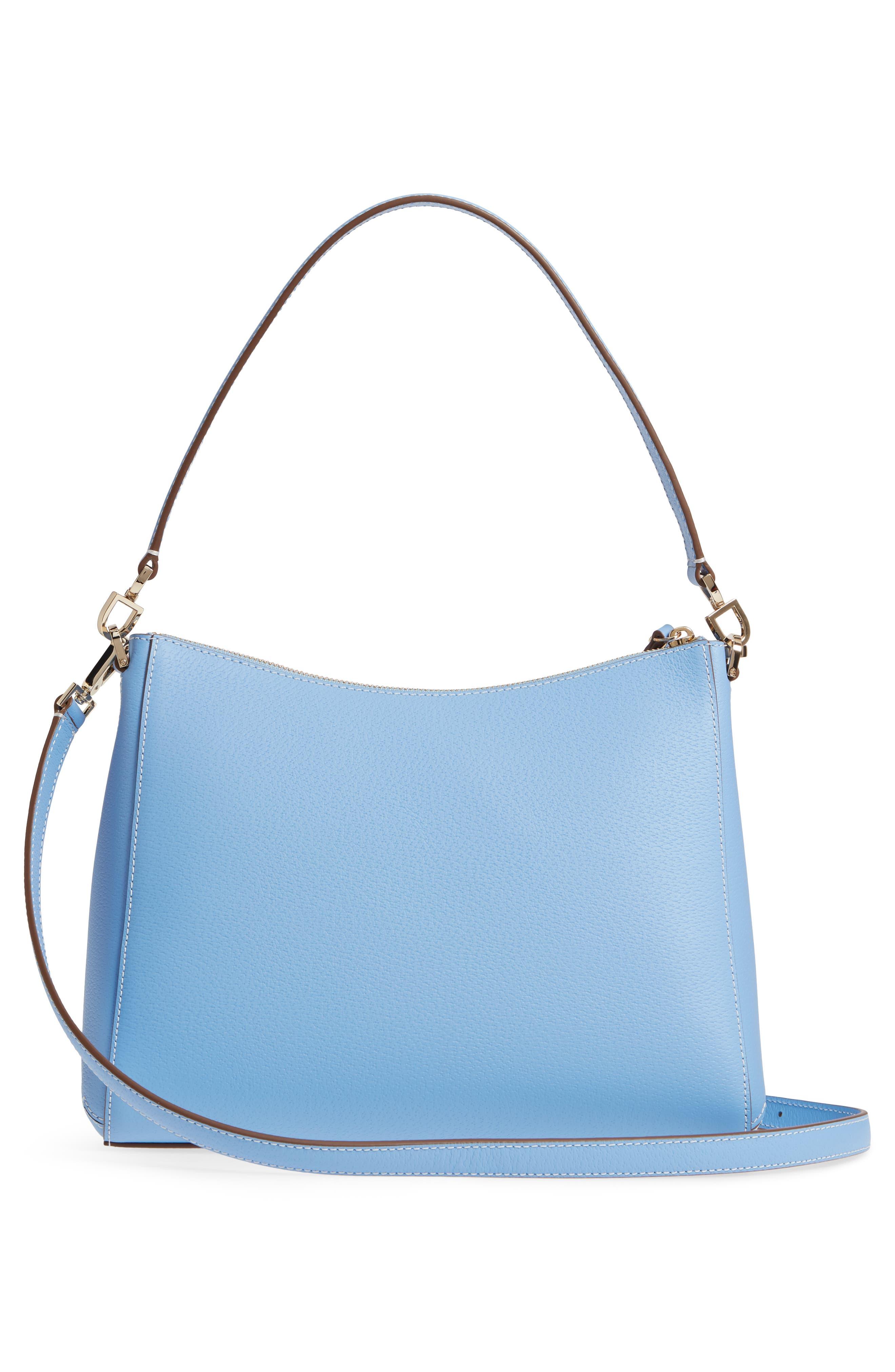 thompson street - marti leather shoulder/crossbody bag,                             Alternate thumbnail 3, color,                             Fable Blue