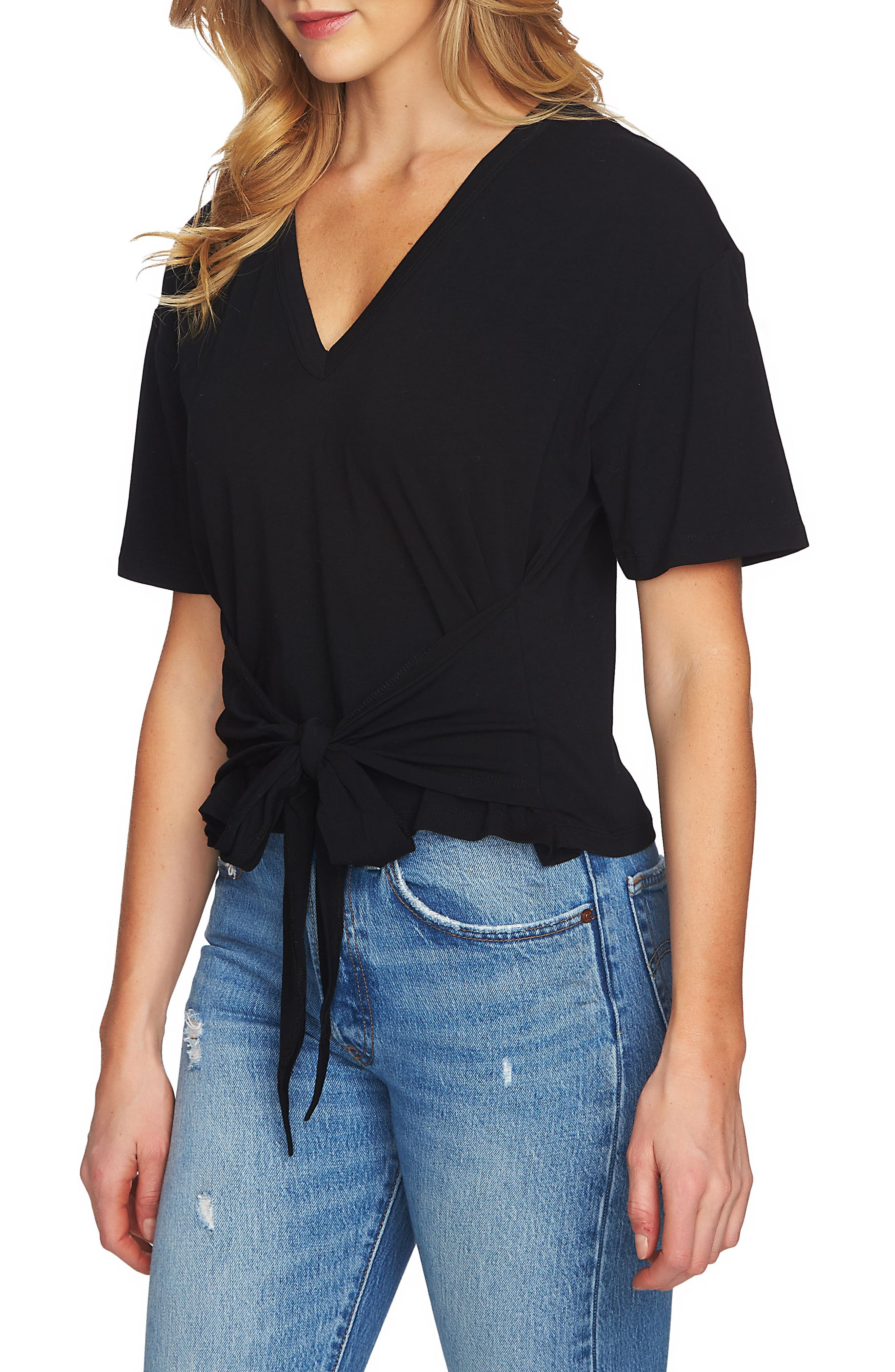 1.STATE Tie Front V-Neck Tee