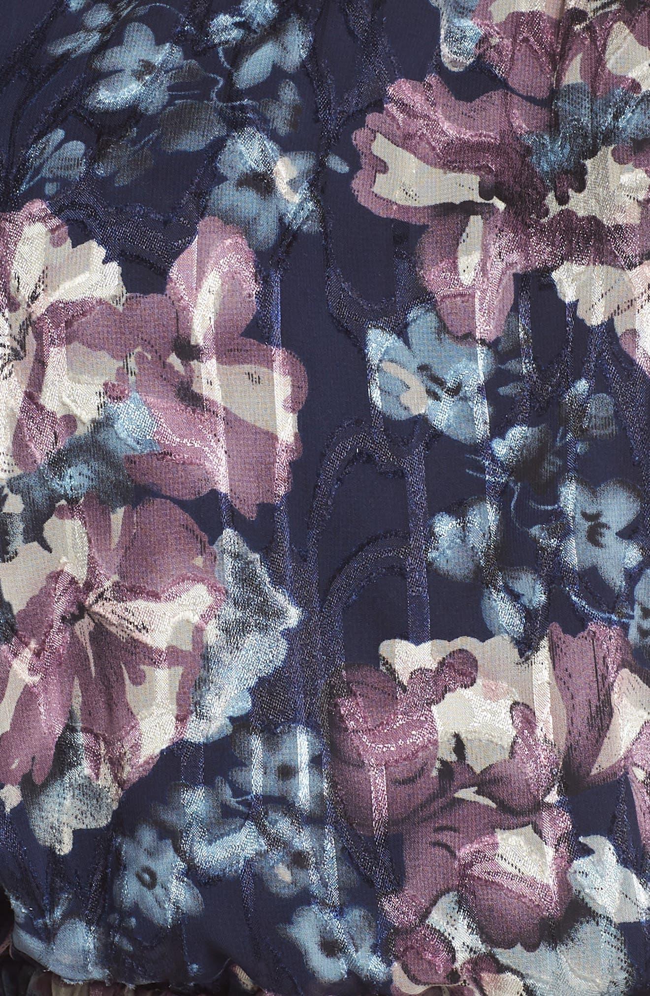 Floral Burnout Off the Shoulder Blouson Dress,                             Alternate thumbnail 5, color,                             Navy Multi