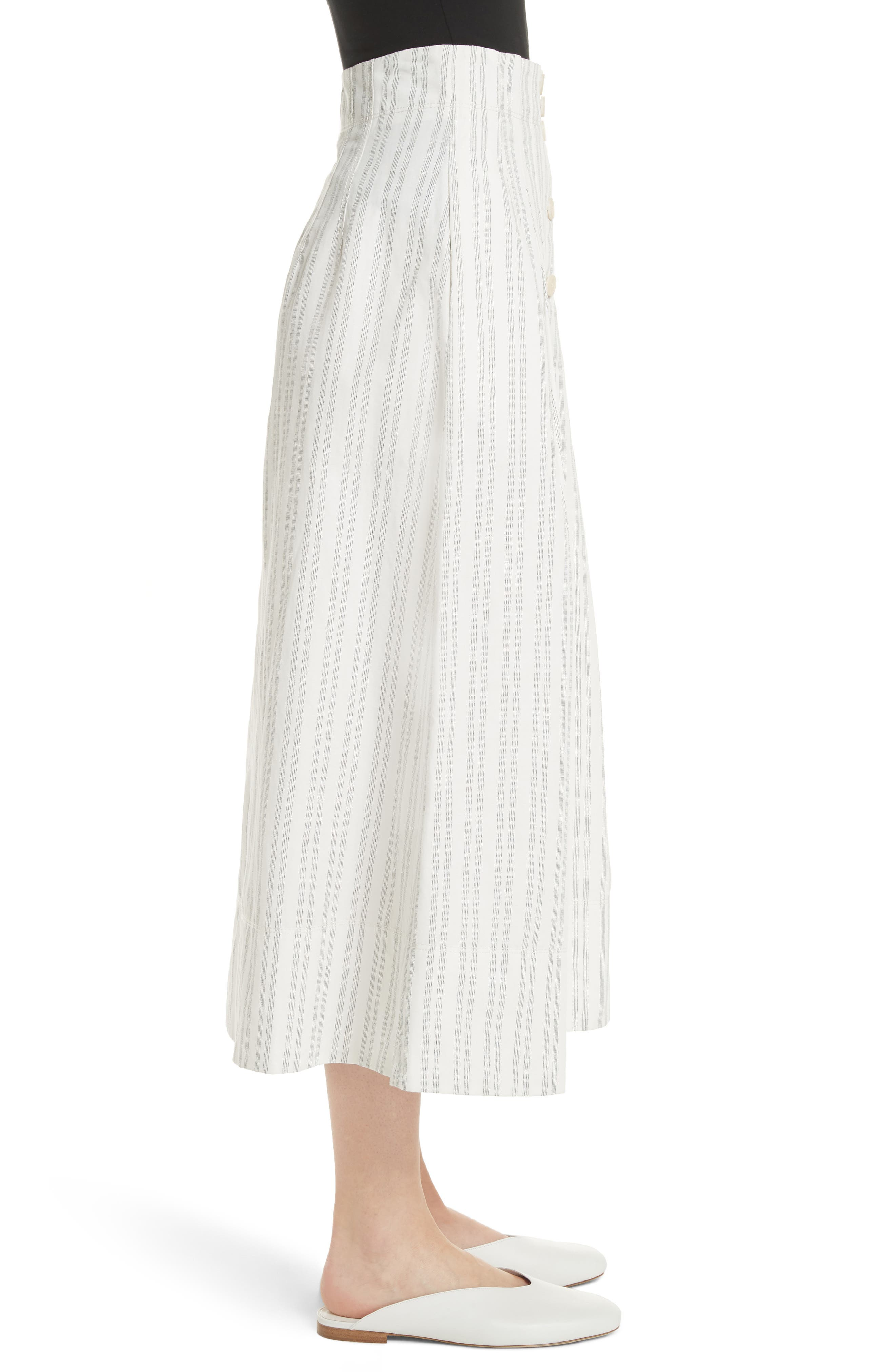 Stripe Midi Skirt,                             Alternate thumbnail 3, color,                             Snow/ Black
