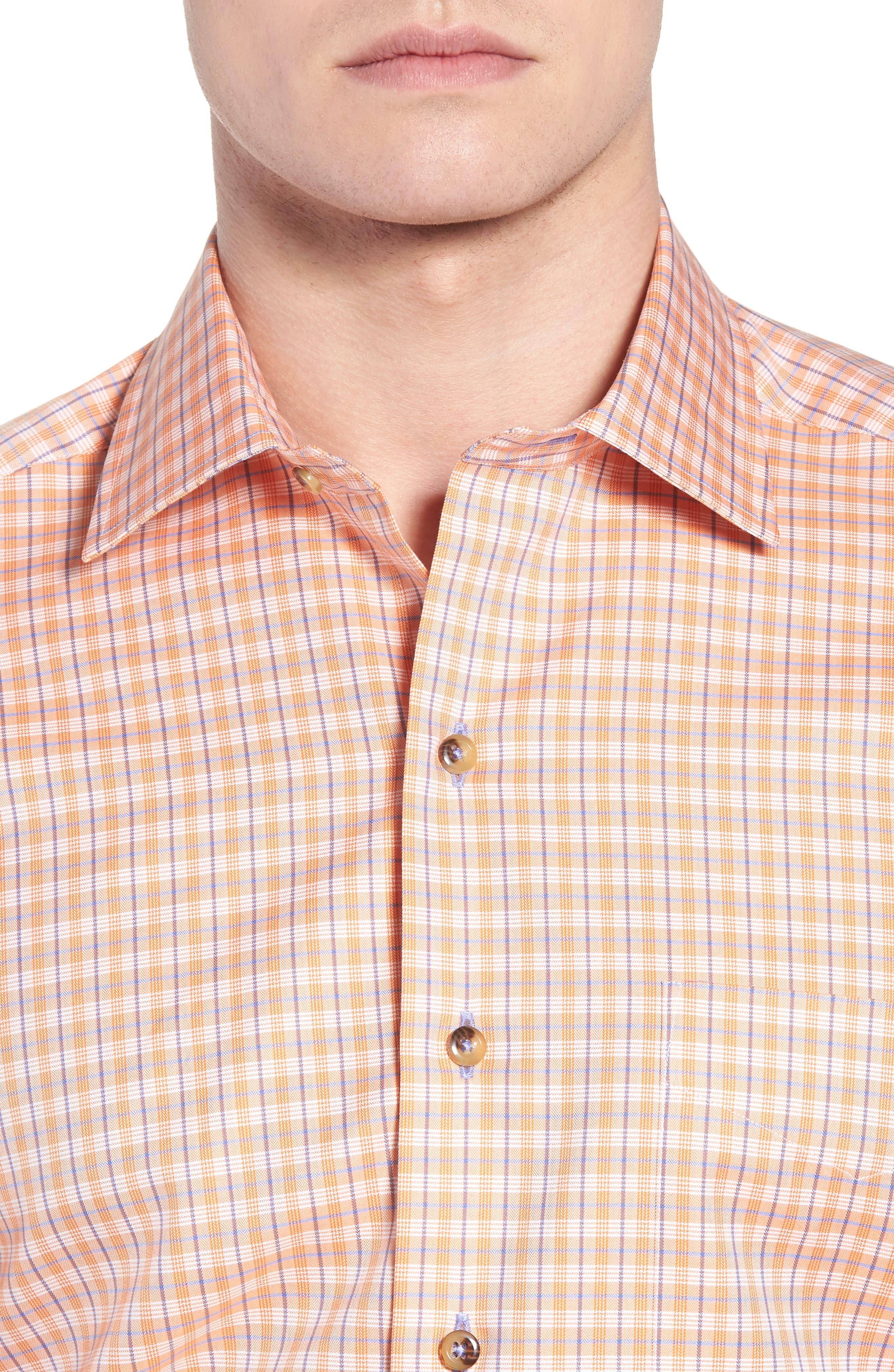 Regular Fit Plaid Sport Shirt,                             Alternate thumbnail 4, color,                             Melon