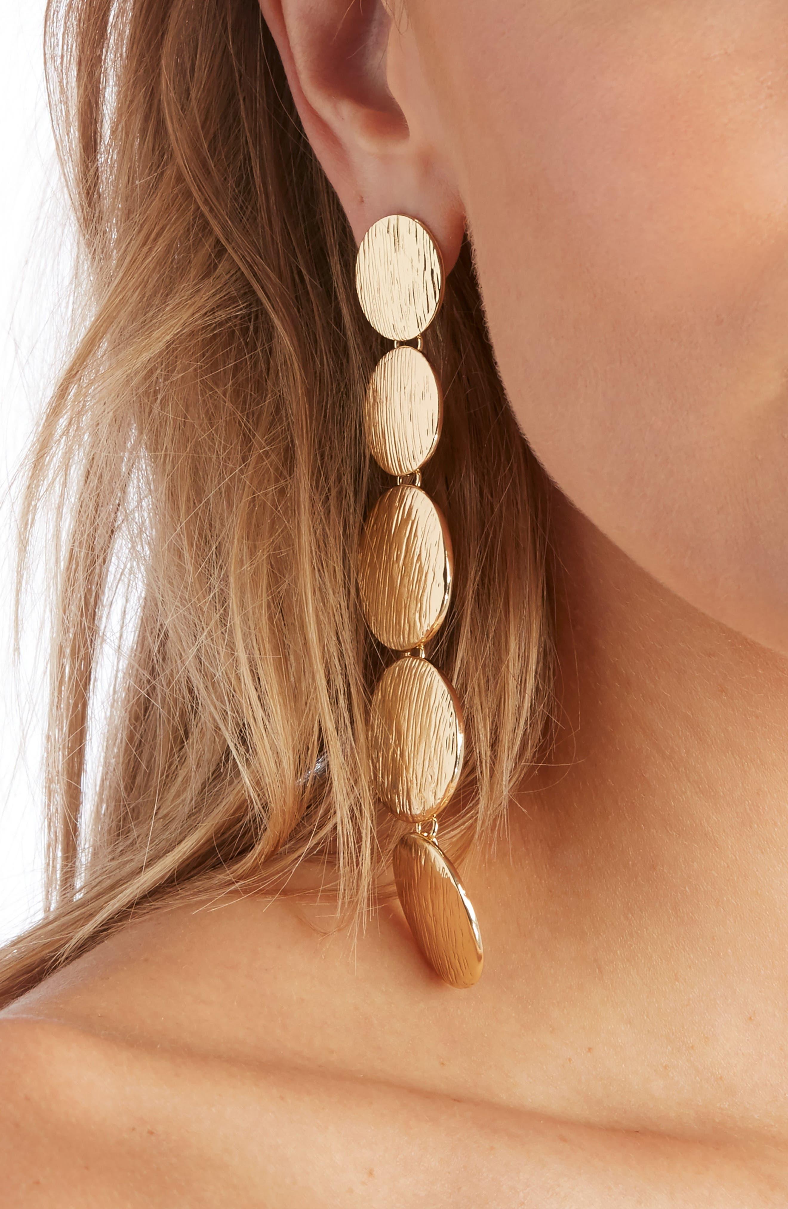 Linear Orbit Duster Earrings,                             Alternate thumbnail 2, color,                             Gold