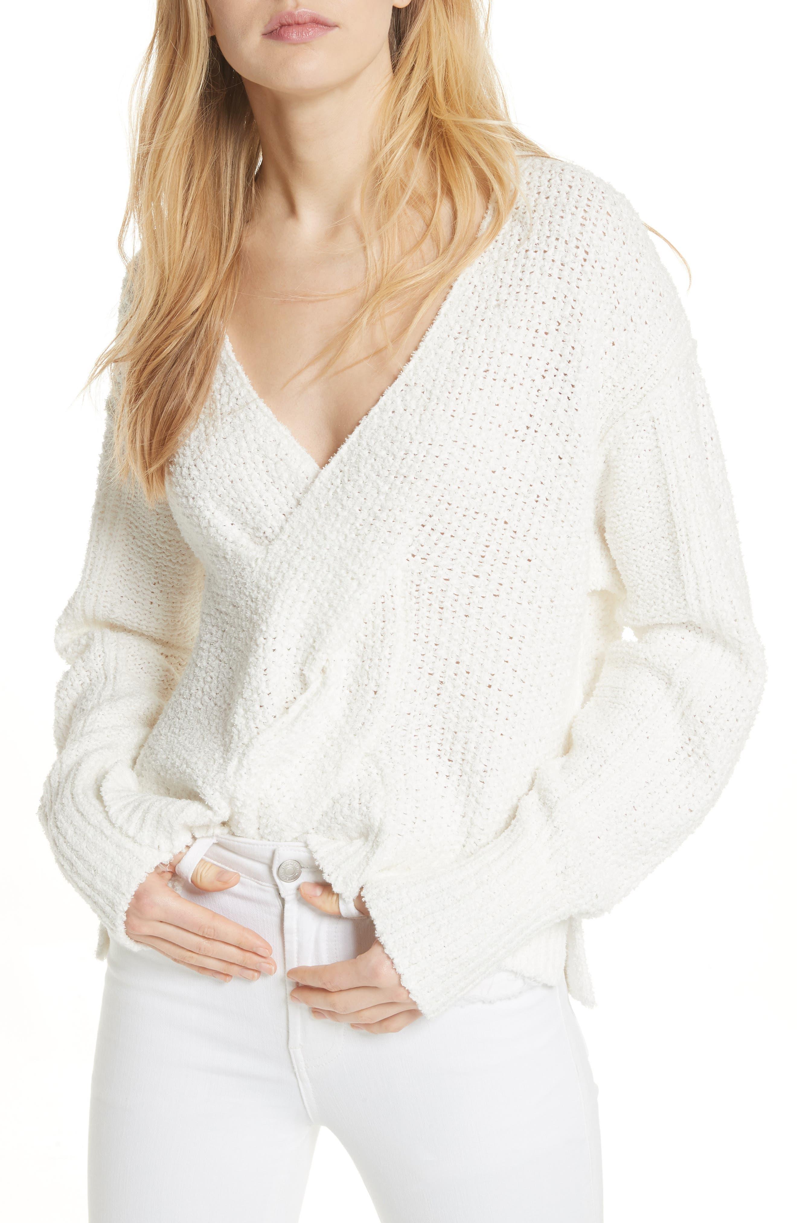 Coco V-Neck Sweater,                             Main thumbnail 1, color,                             White