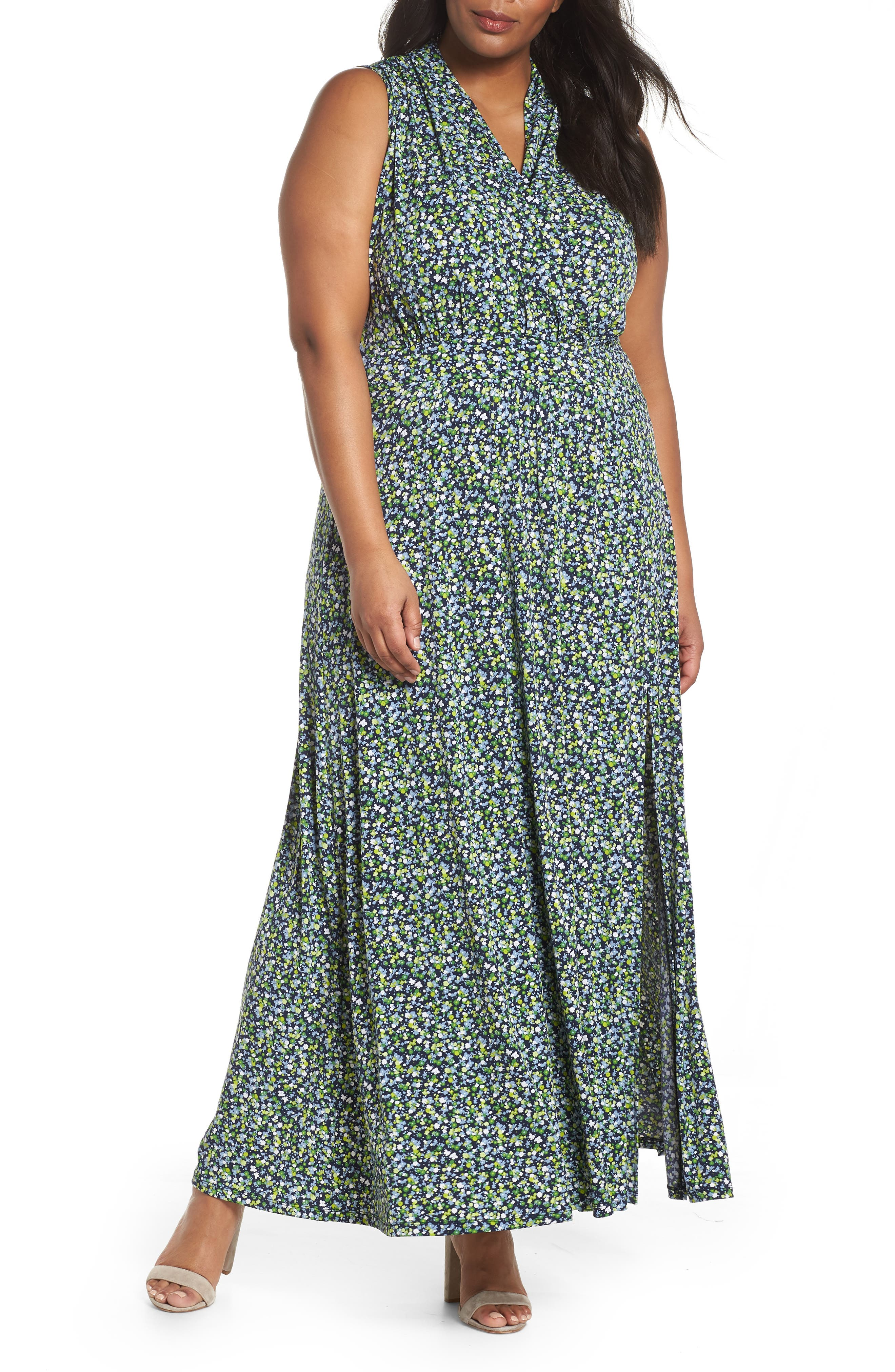 Alternate Image 1 Selected - MICHAEL Michael Kors Wildflowers Maxi Dress (Plus Size)