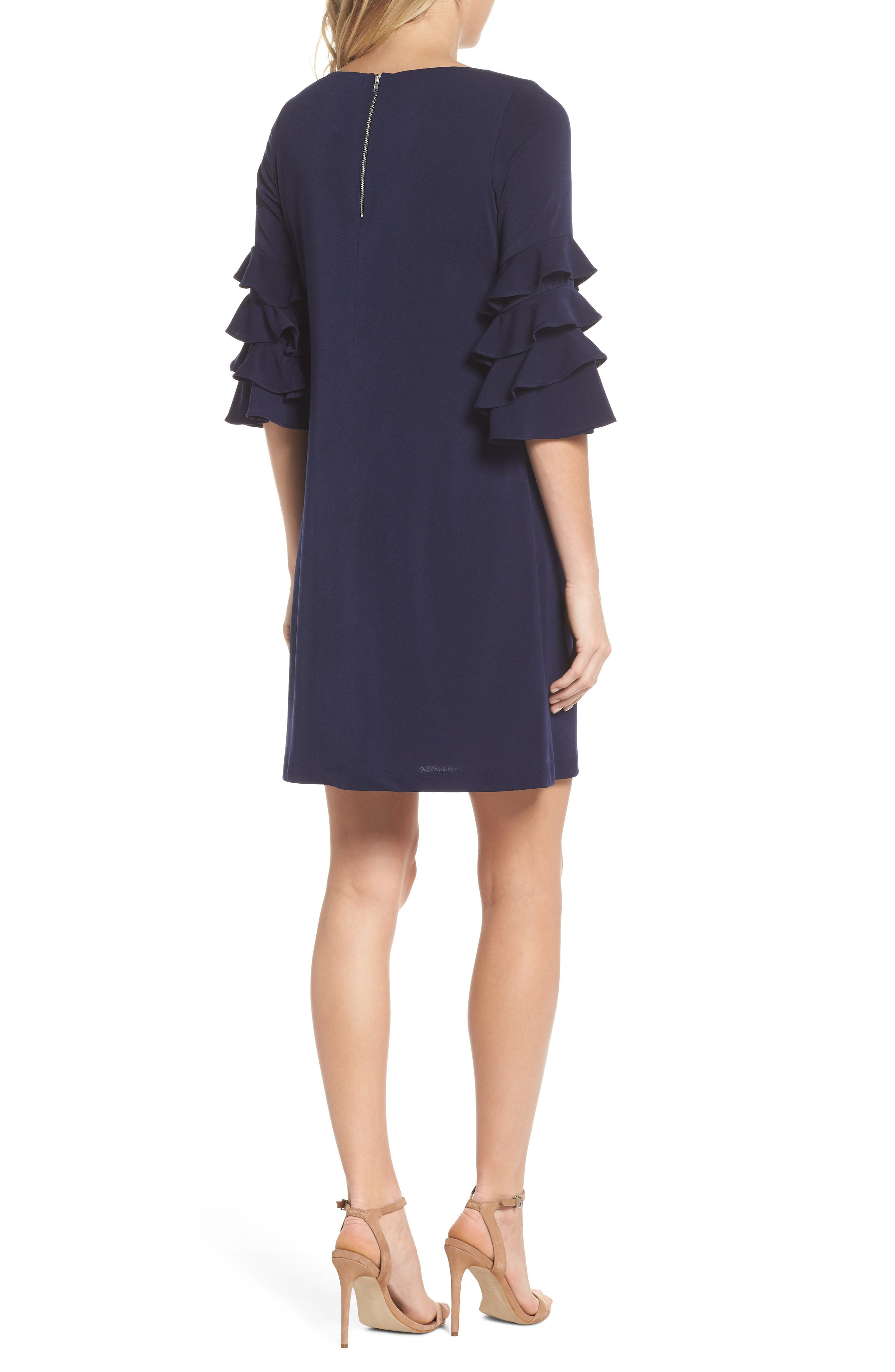 Tiered Sleeve Crepe Shift Dress,                             Alternate thumbnail 2, color,                             Navy
