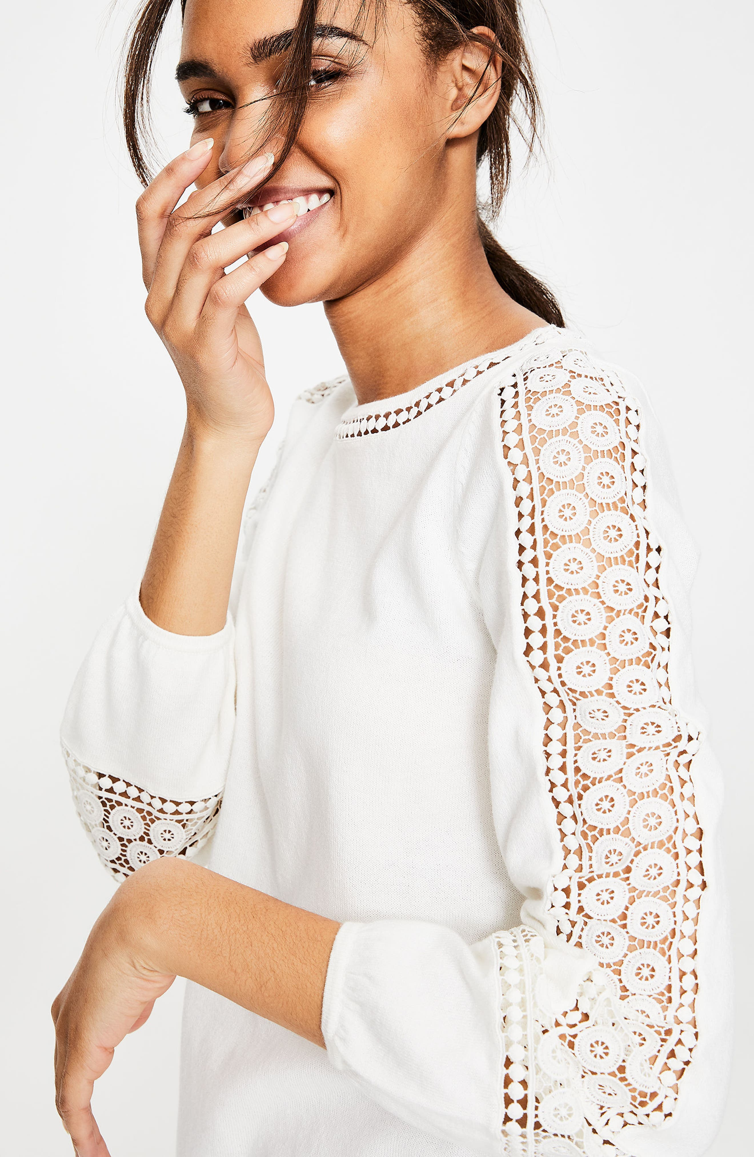 Lace Inset Cotton Sweater,                             Alternate thumbnail 4, color,                             Ivory