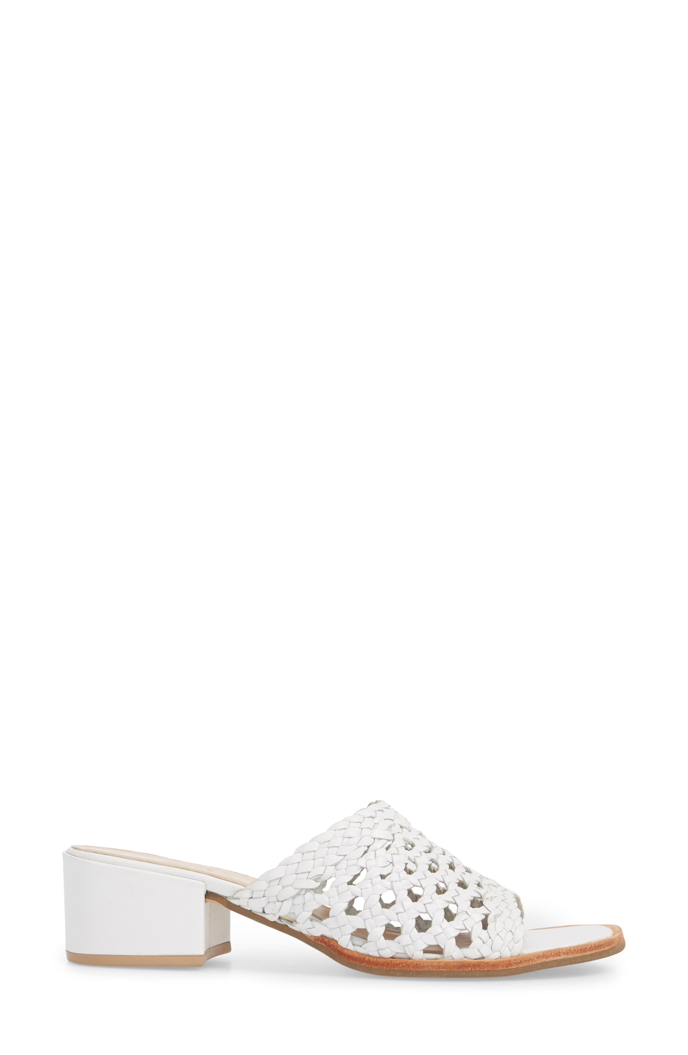 Ditsy Slide Sandal,                             Alternate thumbnail 3, color,                             White Leather