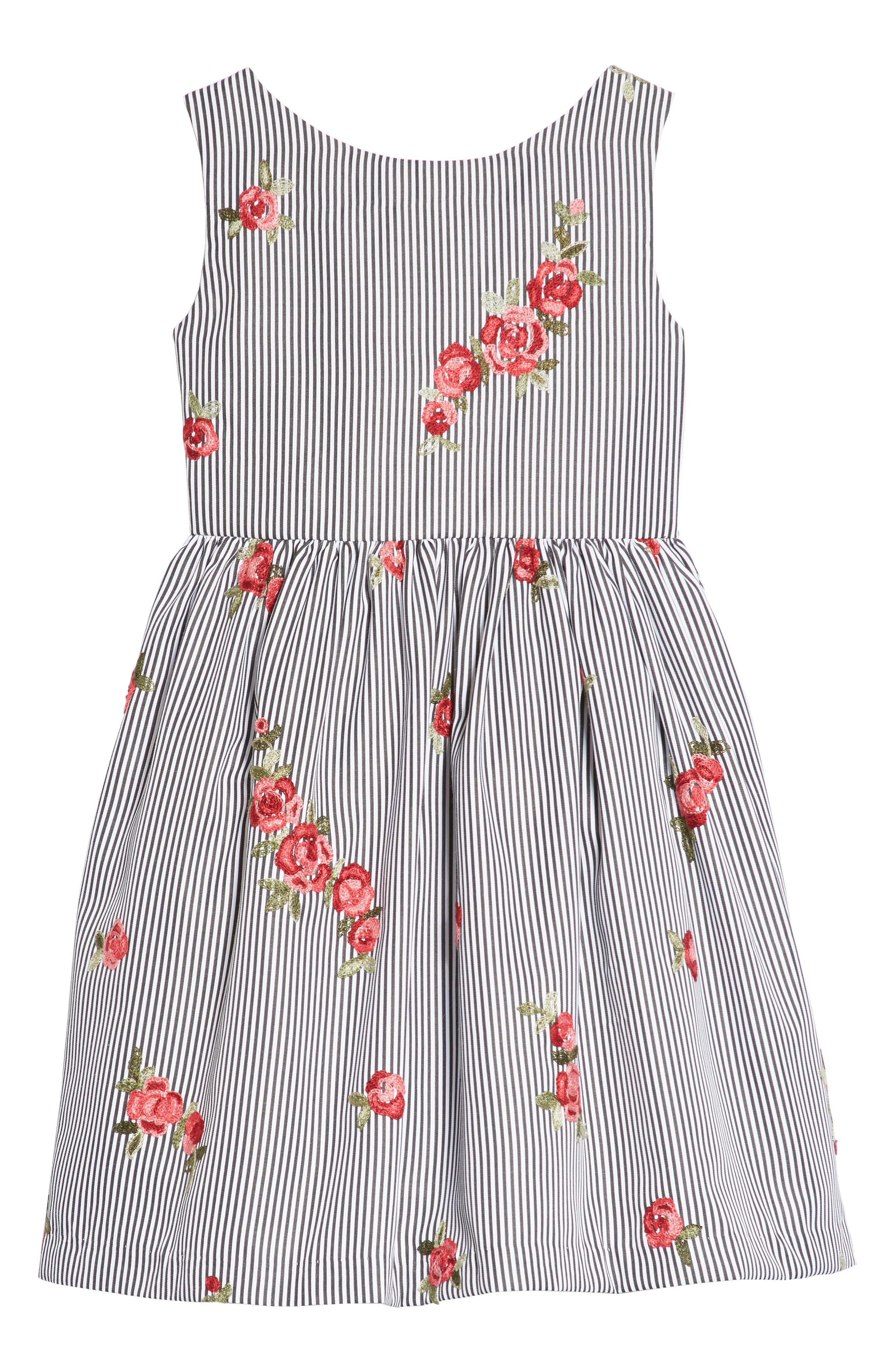 Embroidered Stripe Dress,                             Main thumbnail 1, color,                             Black/ White