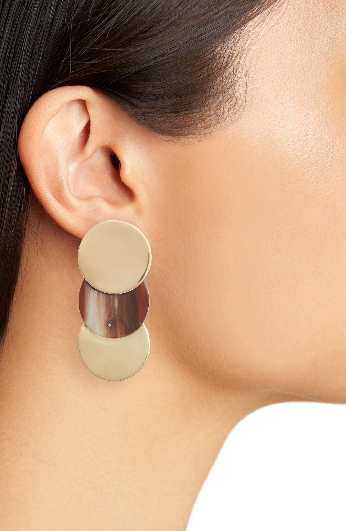 Triple Contrast Coin Earrings,                             Alternate thumbnail 2, color,                             Natural/ Brass