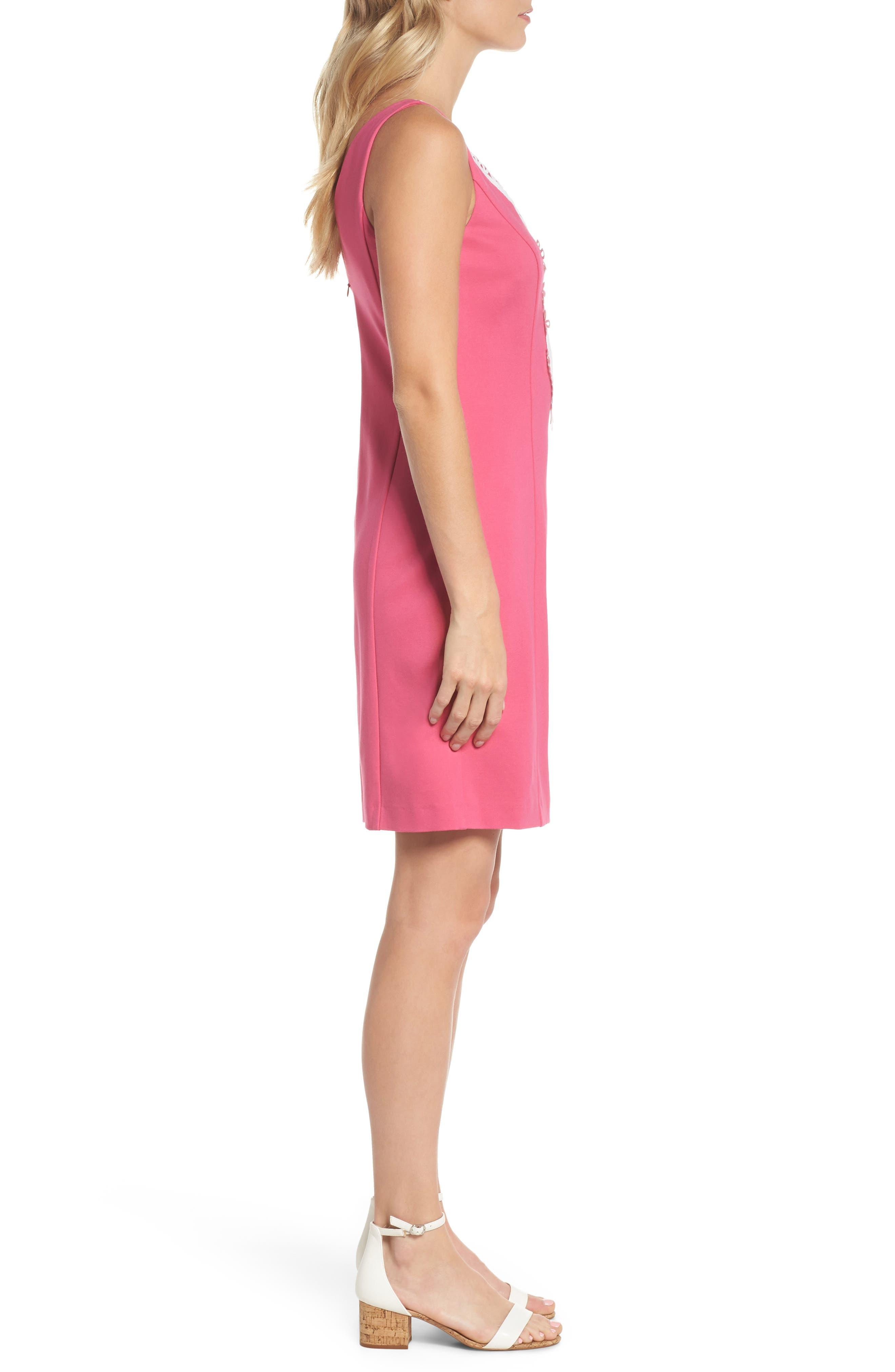 Embroidered V-Neck Shift Dress,                             Alternate thumbnail 3, color,                             Pink
