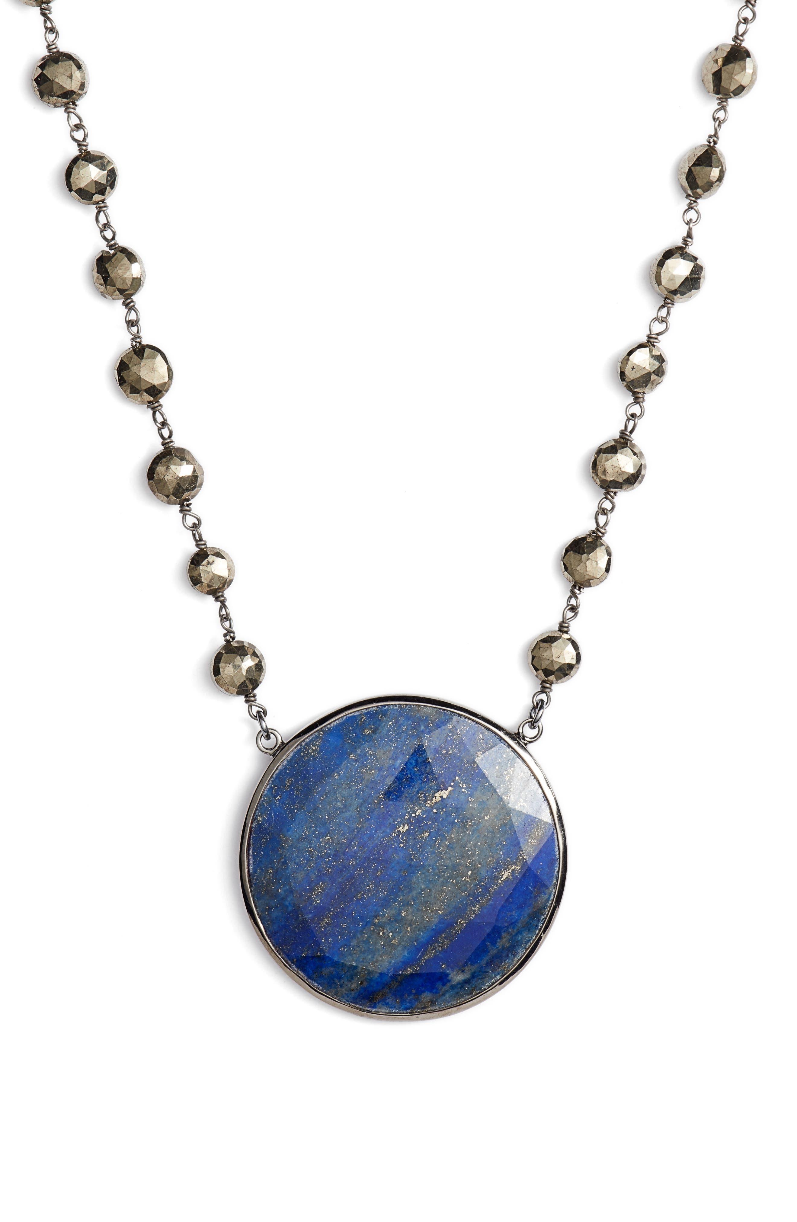 Morah Necklace,                             Main thumbnail 1, color,                             Pyrite/ Lapis Disc