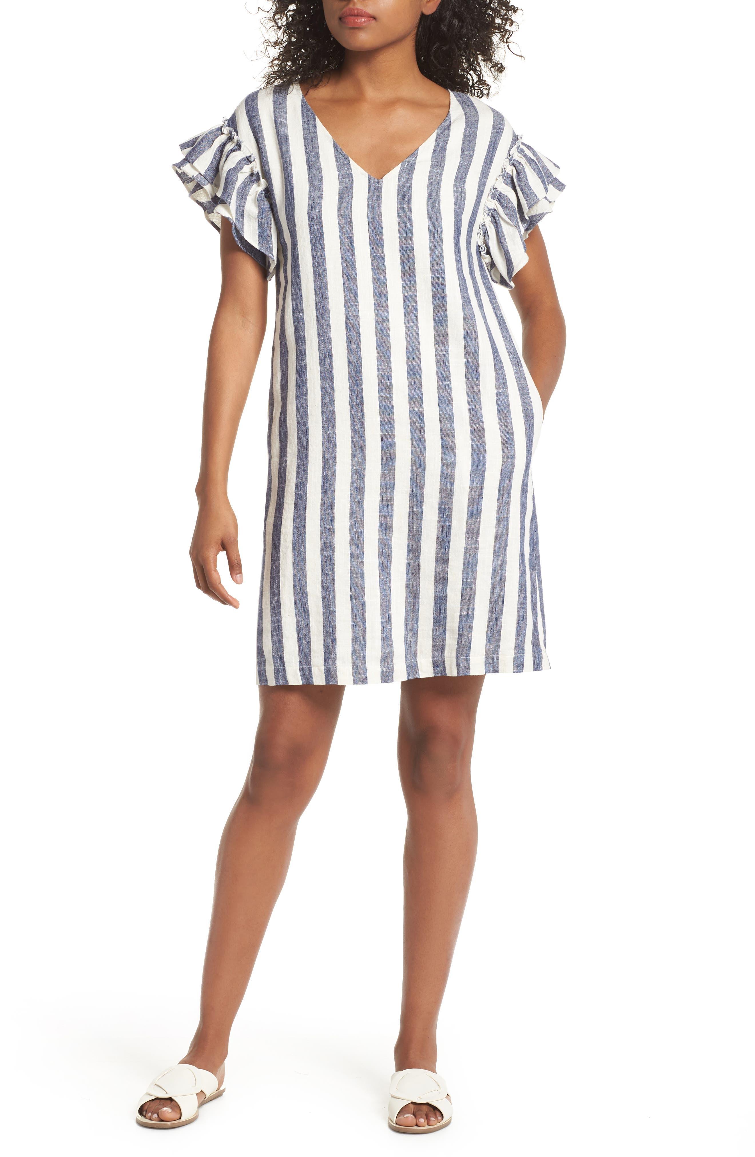 Ruffle Sleeve Shift Dress,                         Main,                         color, Navy-White