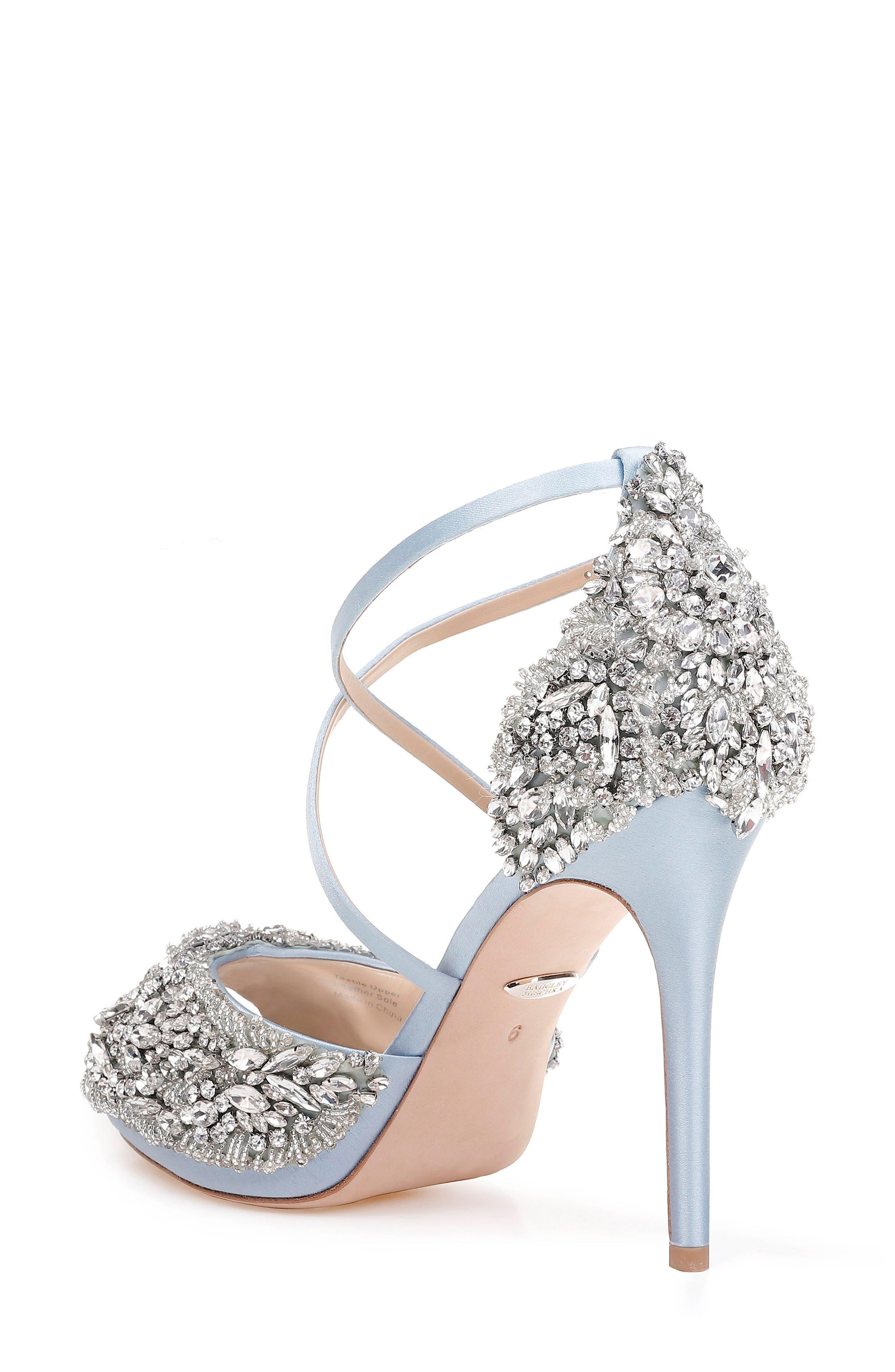 Hyper Crystal Embellished Sandal,                             Alternate thumbnail 2, color,                             Light Blue Satin