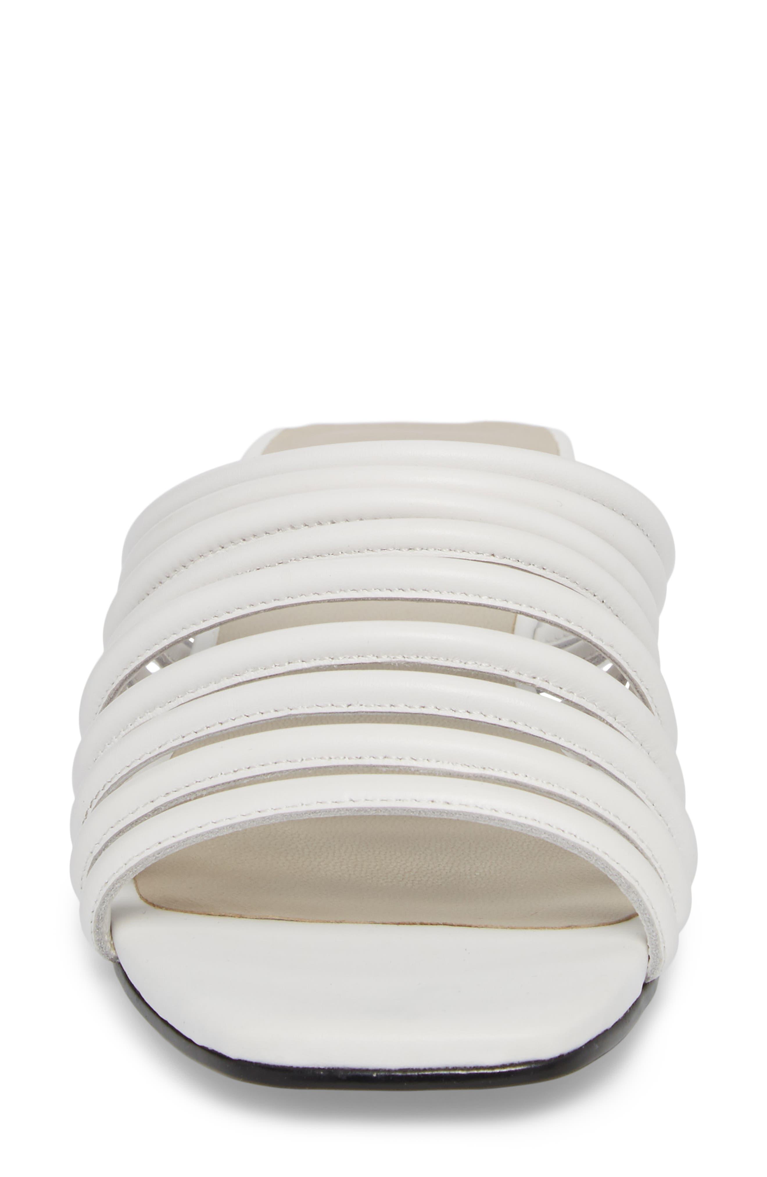 Becky Slide Sandal,                             Alternate thumbnail 4, color,                             White Leather