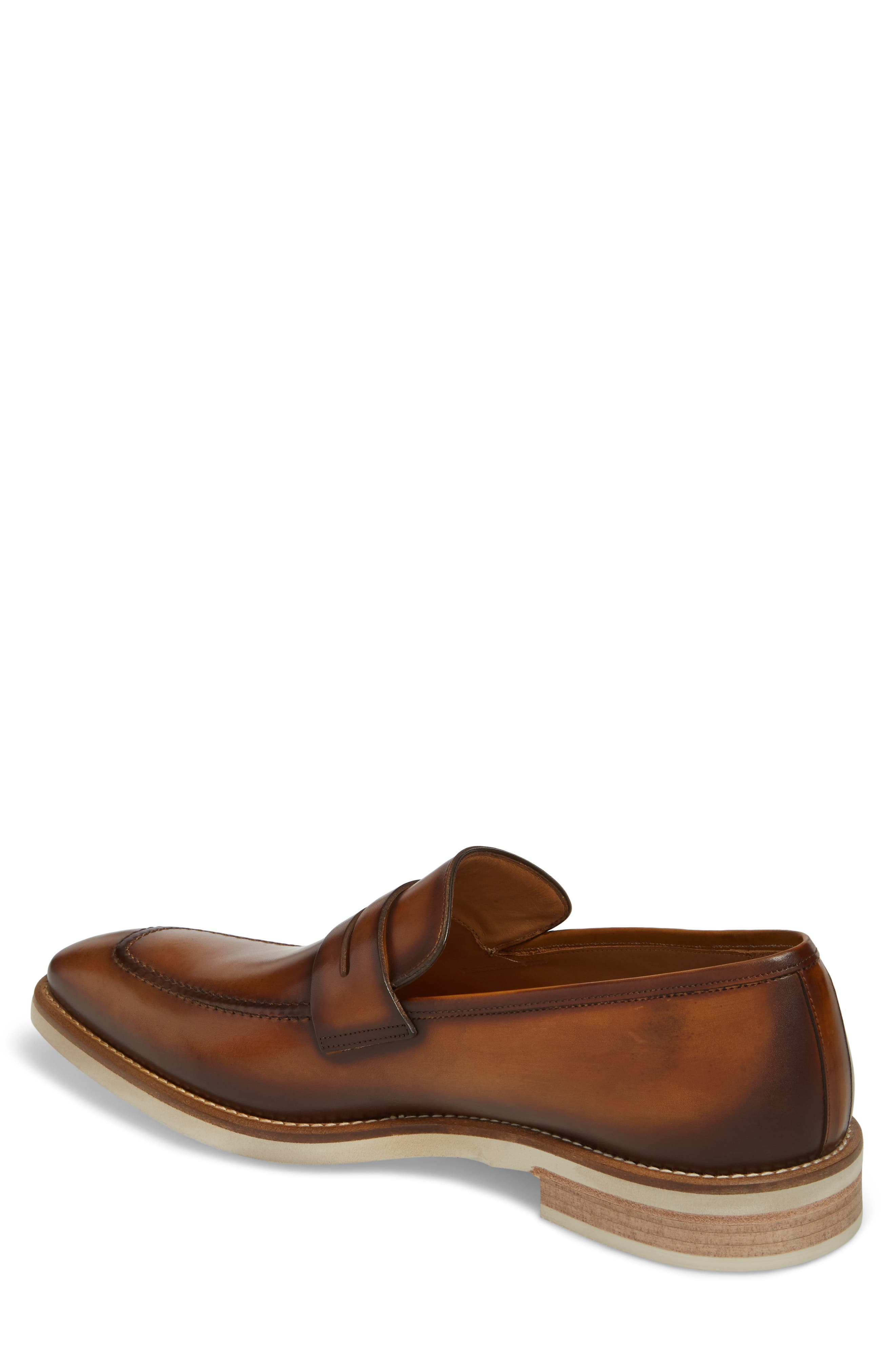 Castor Apron Toe Penny Loafer,                             Alternate thumbnail 2, color,                             Honey Leather