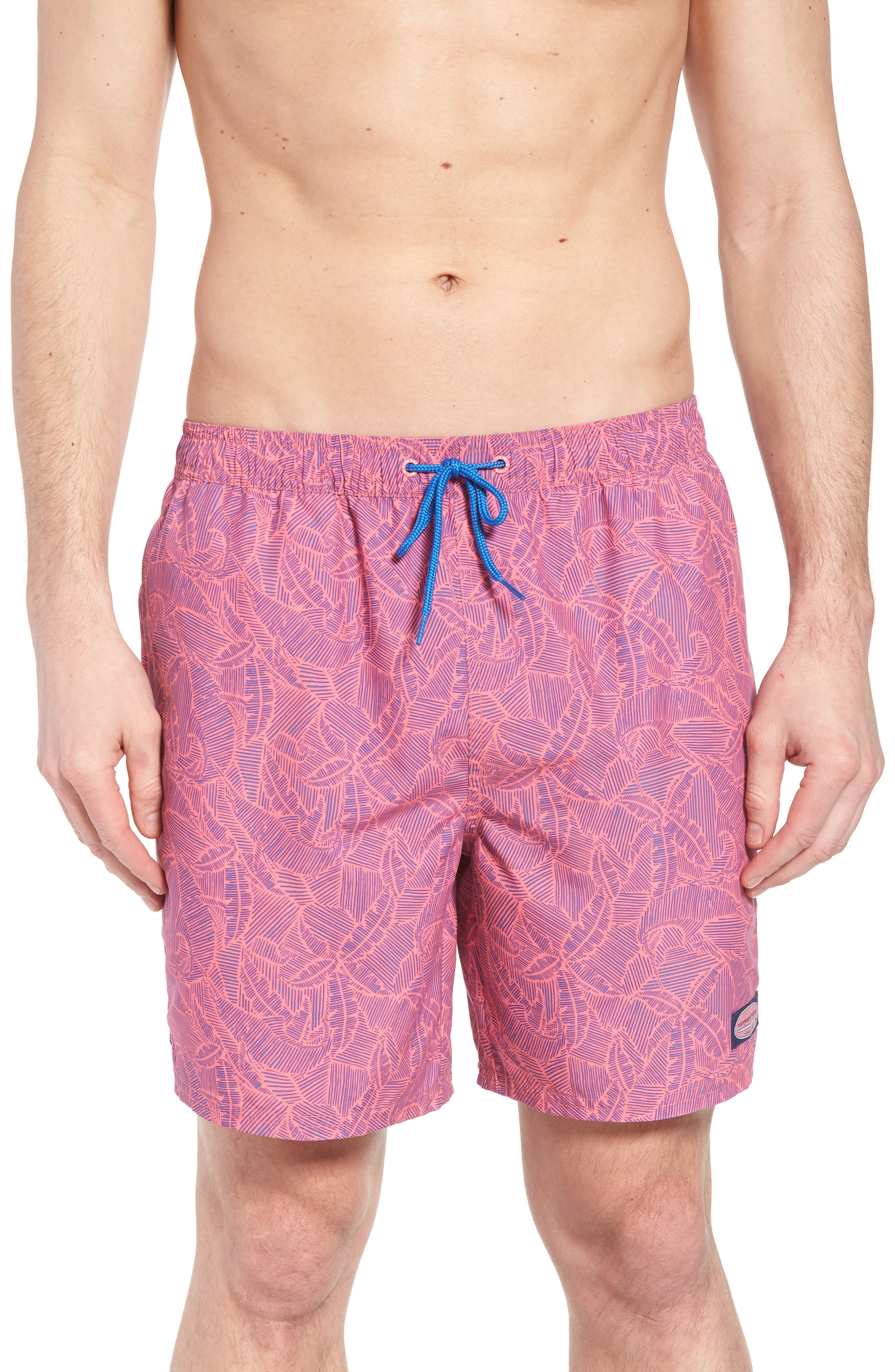 Linear Tropics Chappy Swim Trunks,                             Main thumbnail 1, color,                             Sunset Pink