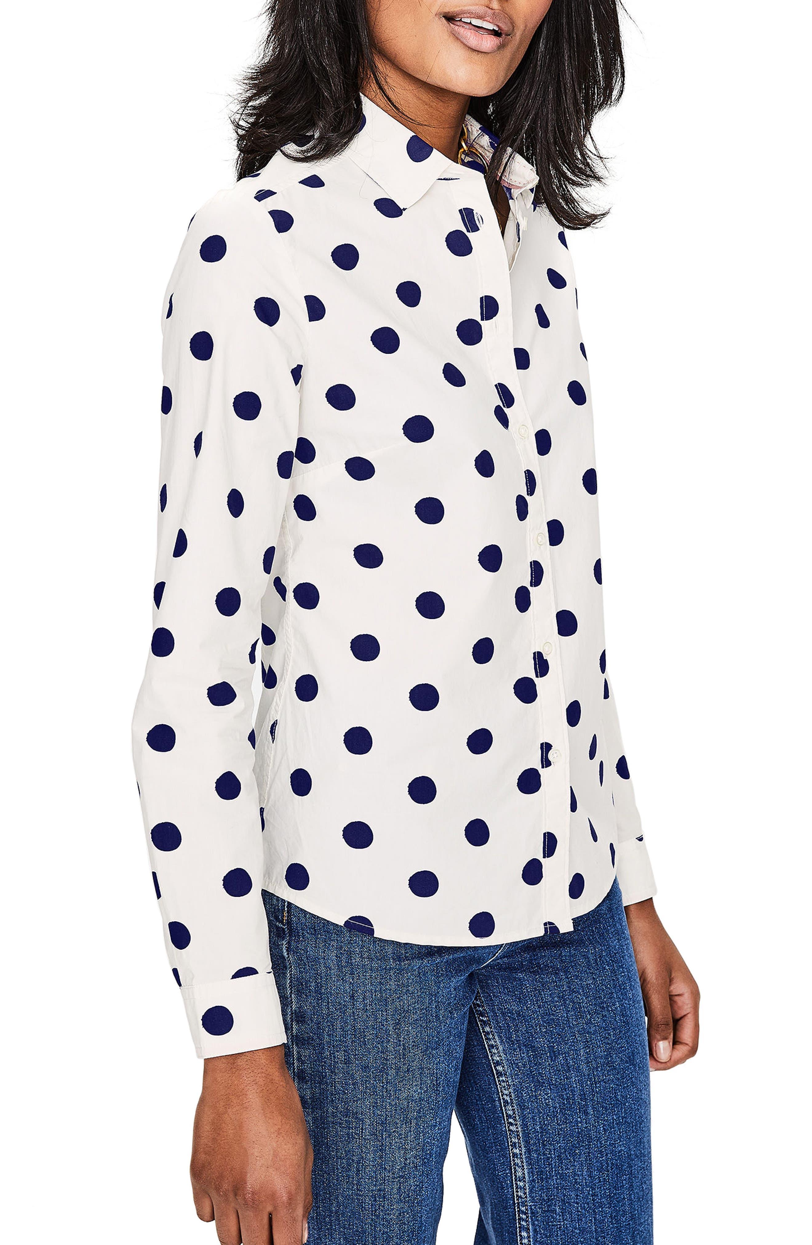 Print Shirt,                         Main,                         color, Ivory/ Navy Spot