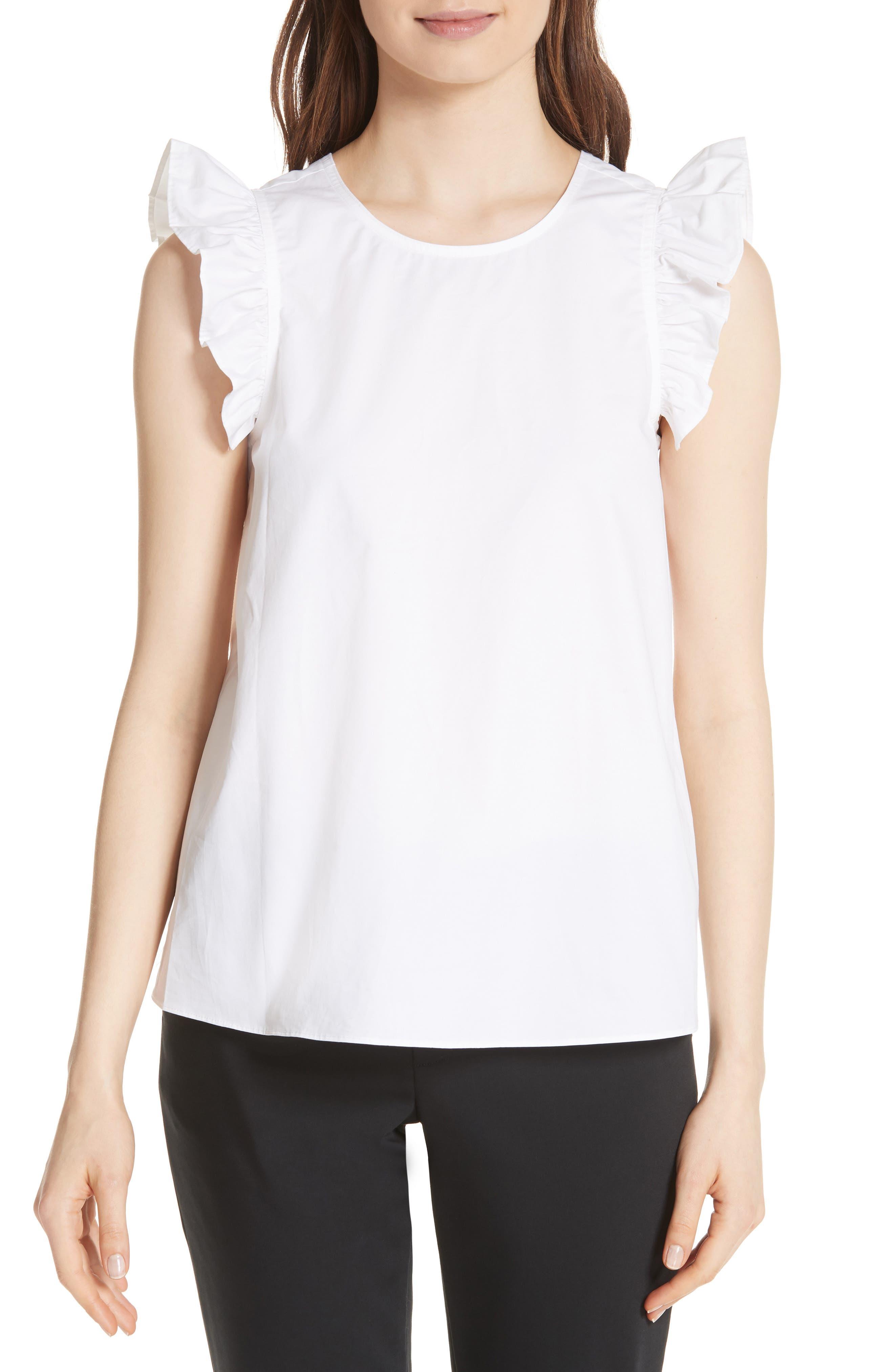 ruffled cotton top,                         Main,                         color, Fresh White