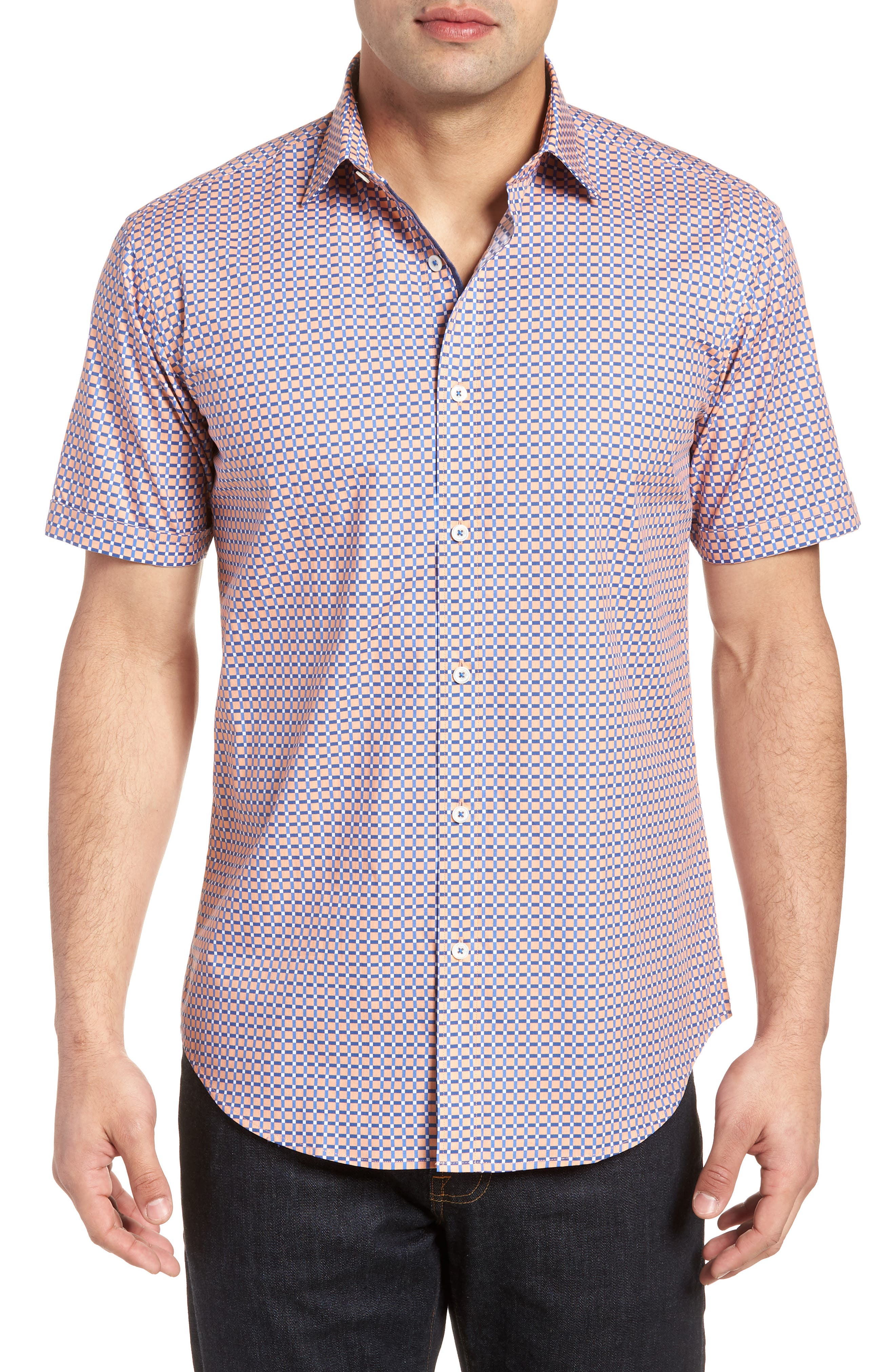 Woven Sport Shirt,                         Main,                         color, Coral