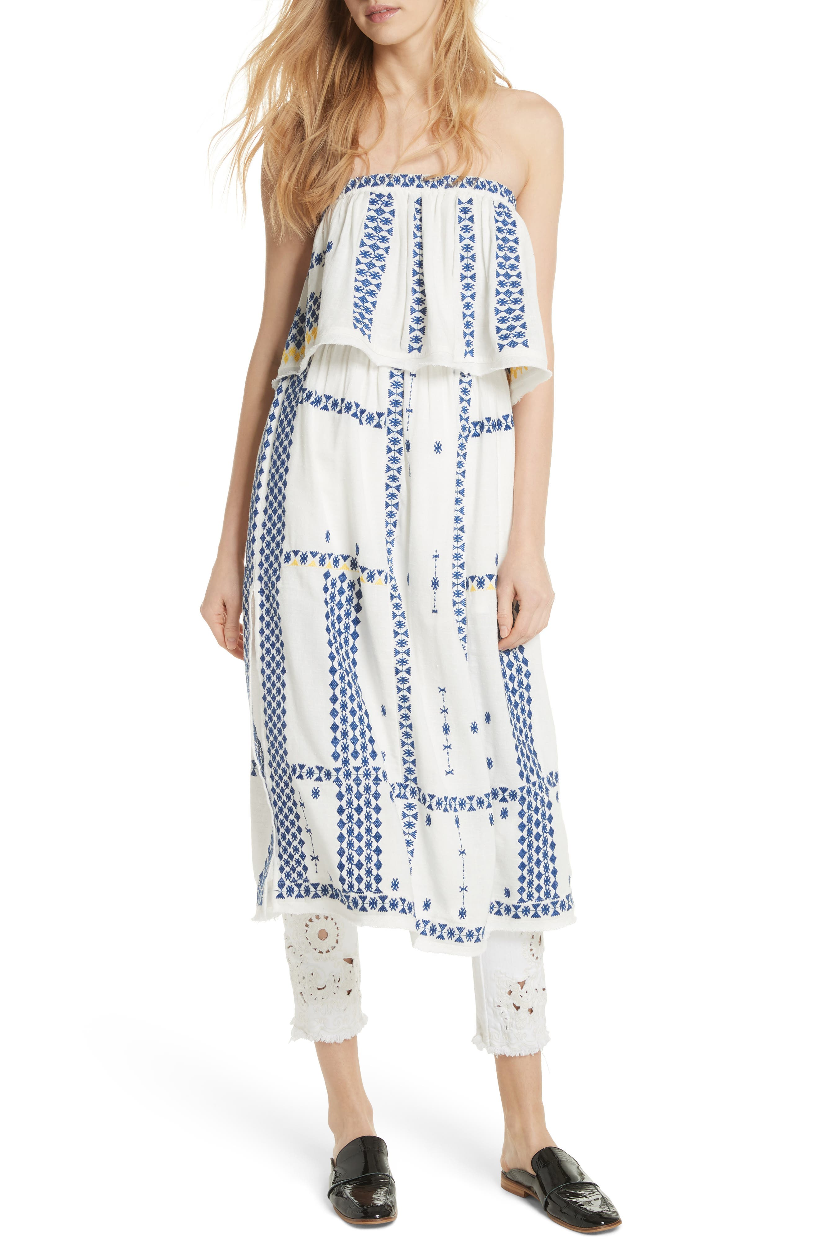 Wild Romance Embroidered Dress,                         Main,                         color, Ivory