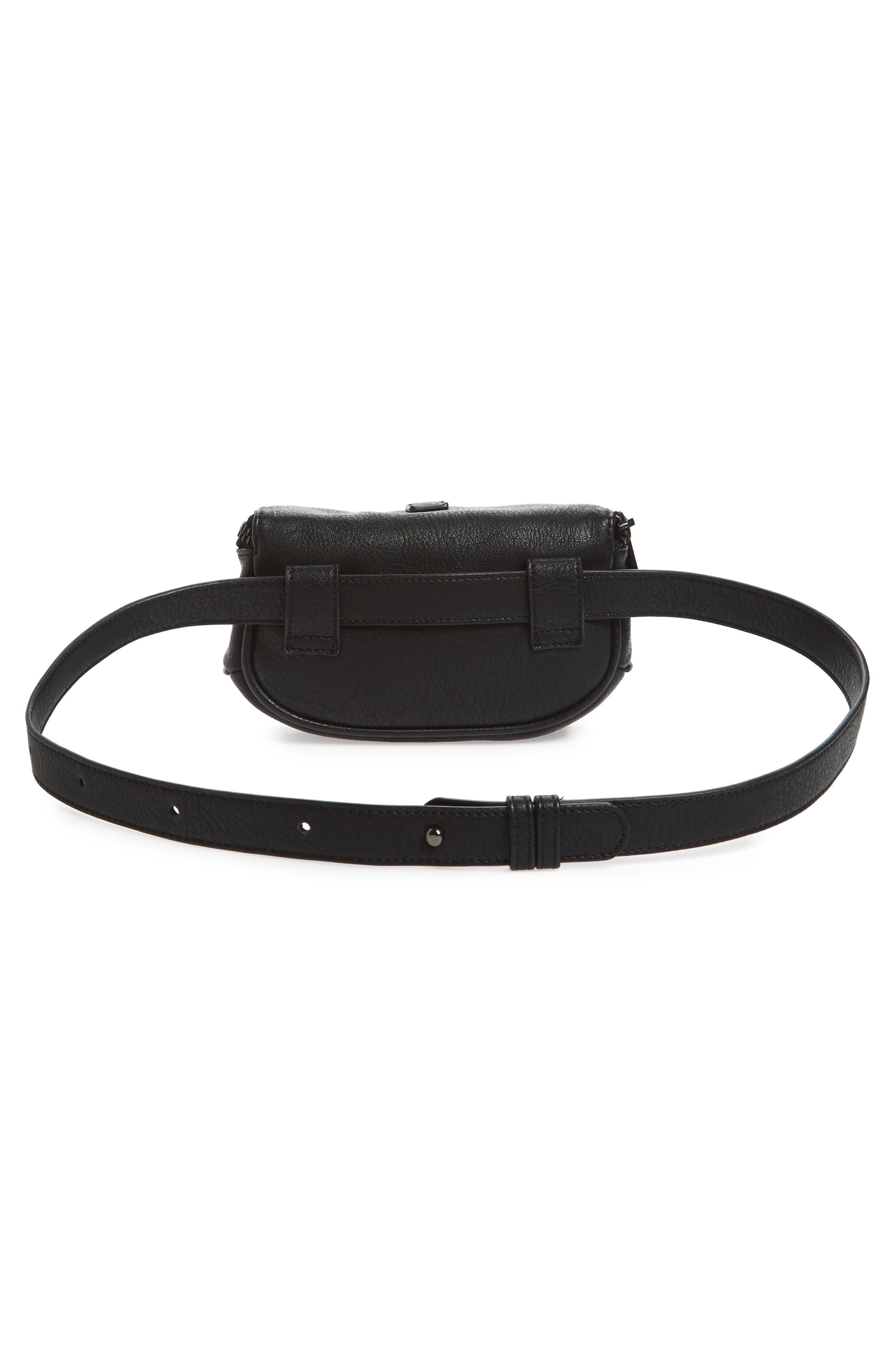 Faux Leather Belt Bag,                             Alternate thumbnail 4, color,                             Black